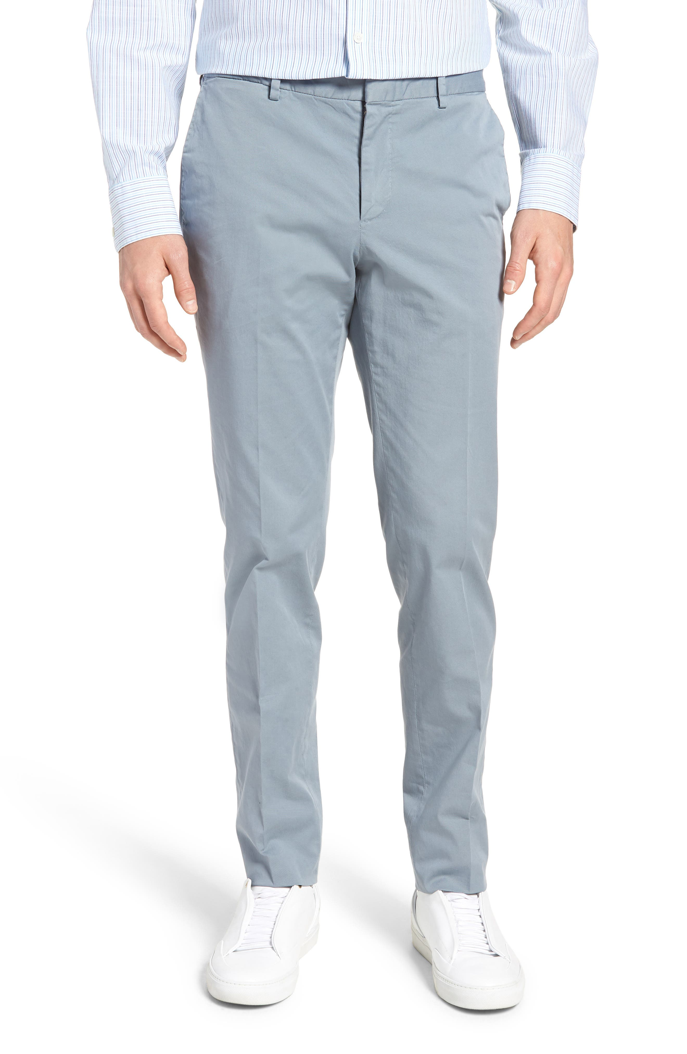 Barlow-D Flat Front Stretch Solid Cotton Trousers,                             Main thumbnail 1, color,                             Blue