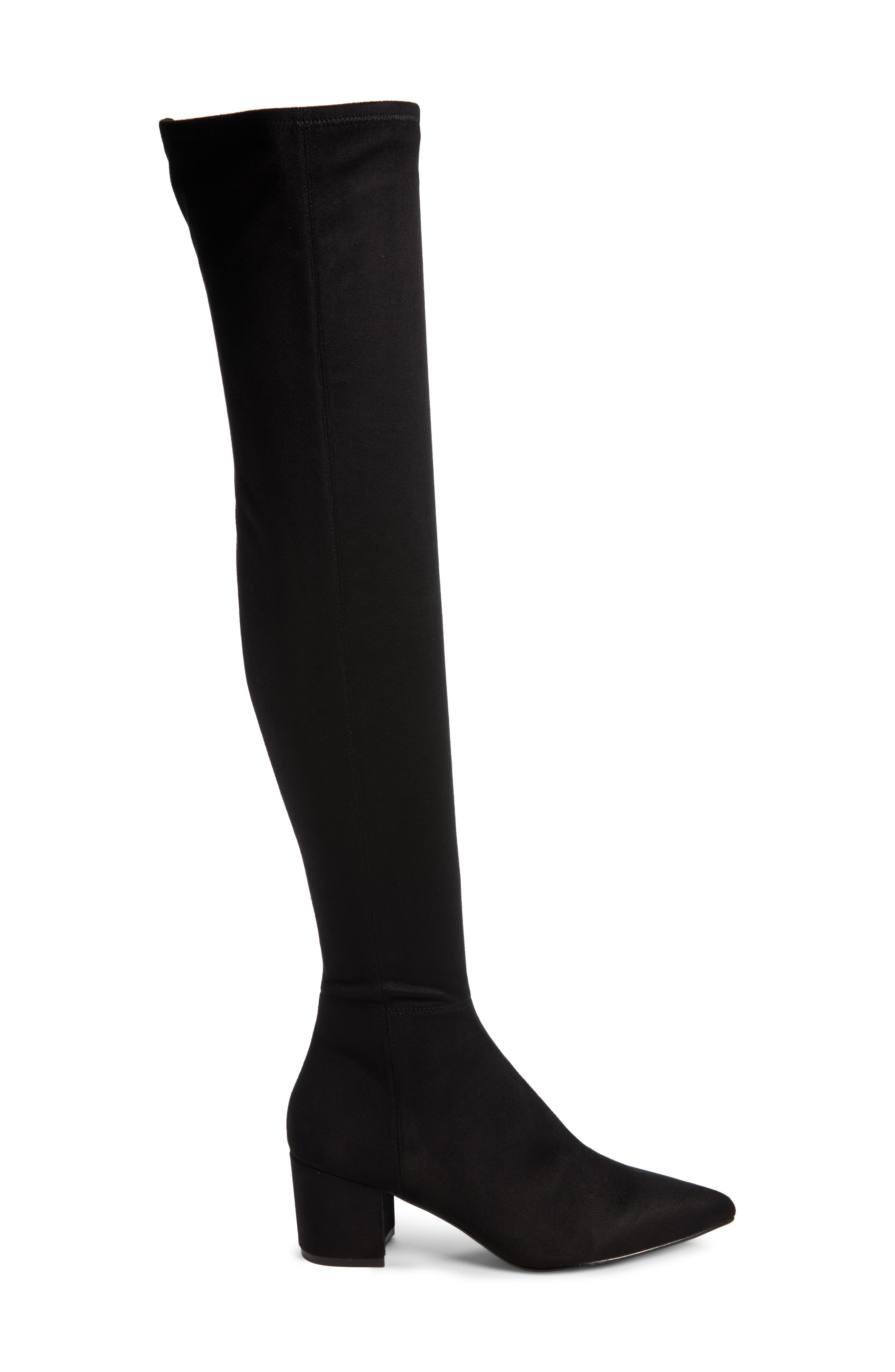 Brinkley Over the Knee Stretch Boot,                             Alternate thumbnail 3, color,                             Black Suede