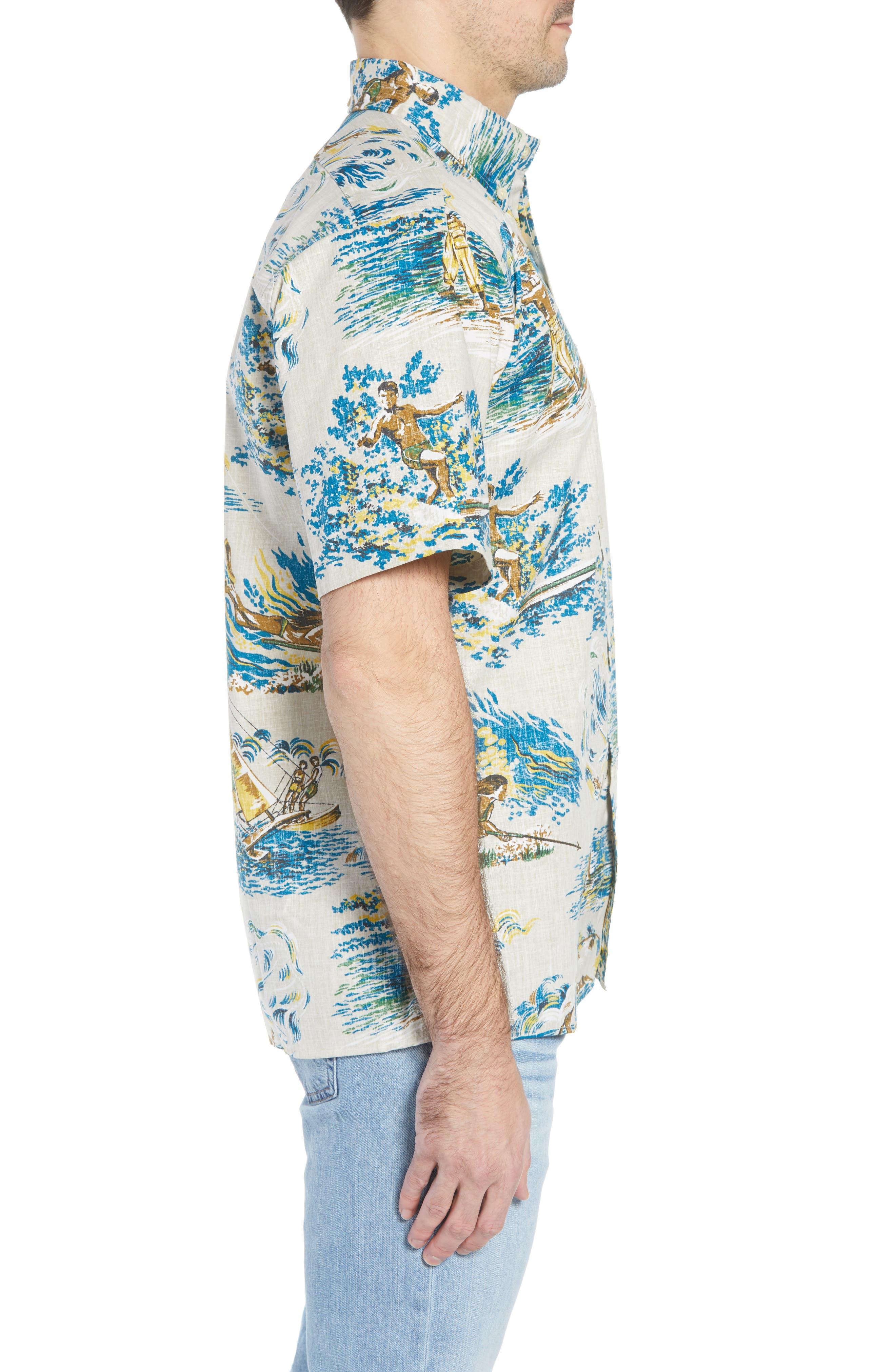 Moana Medley Classic Fit Print Sport Shirt,                             Alternate thumbnail 4, color,                             Chalk