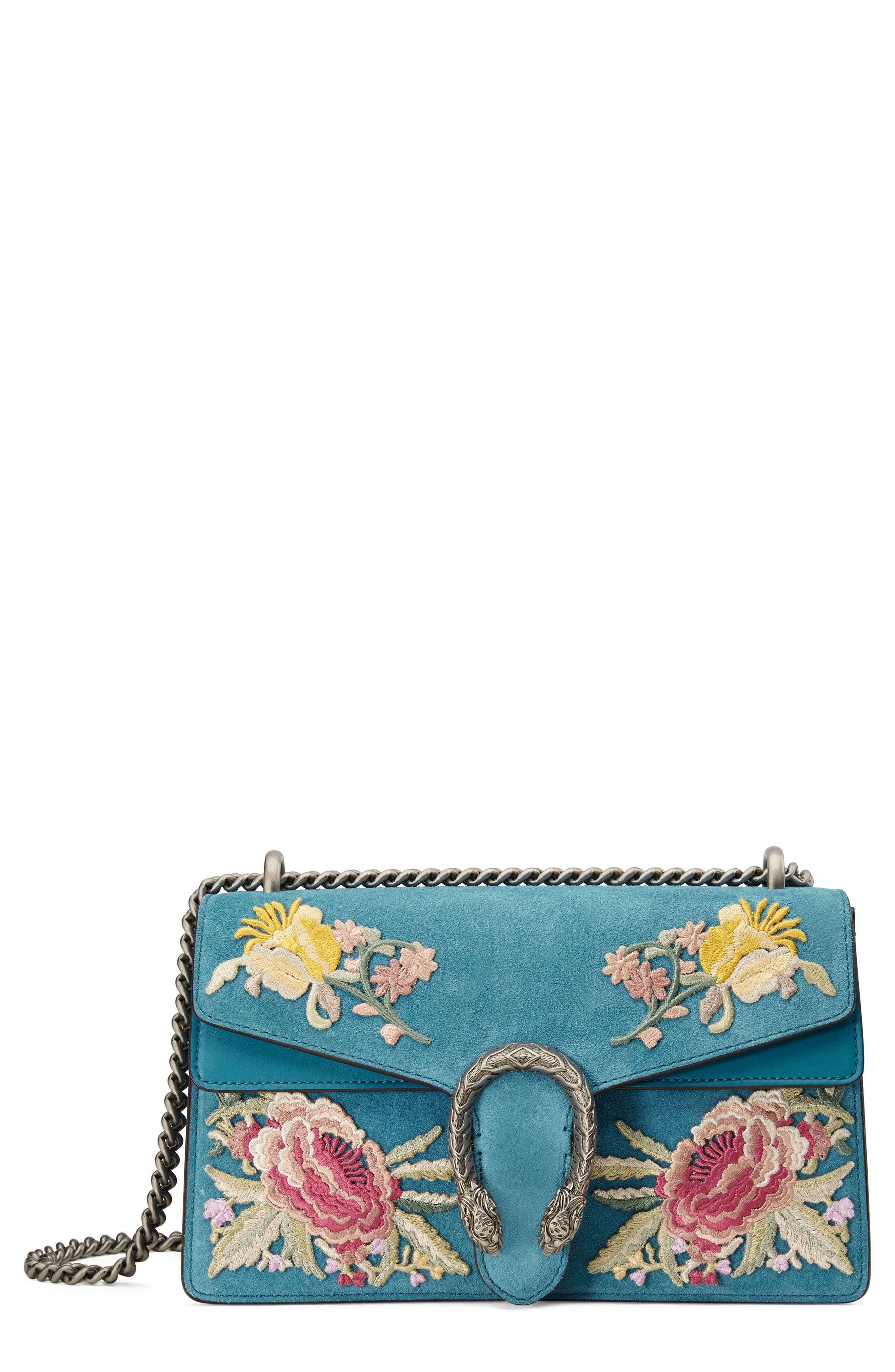 Small Dionysus Embroidered Suede Shoulder Bag,                         Main,                         color, Zaffiro/ Zaffiro Multi
