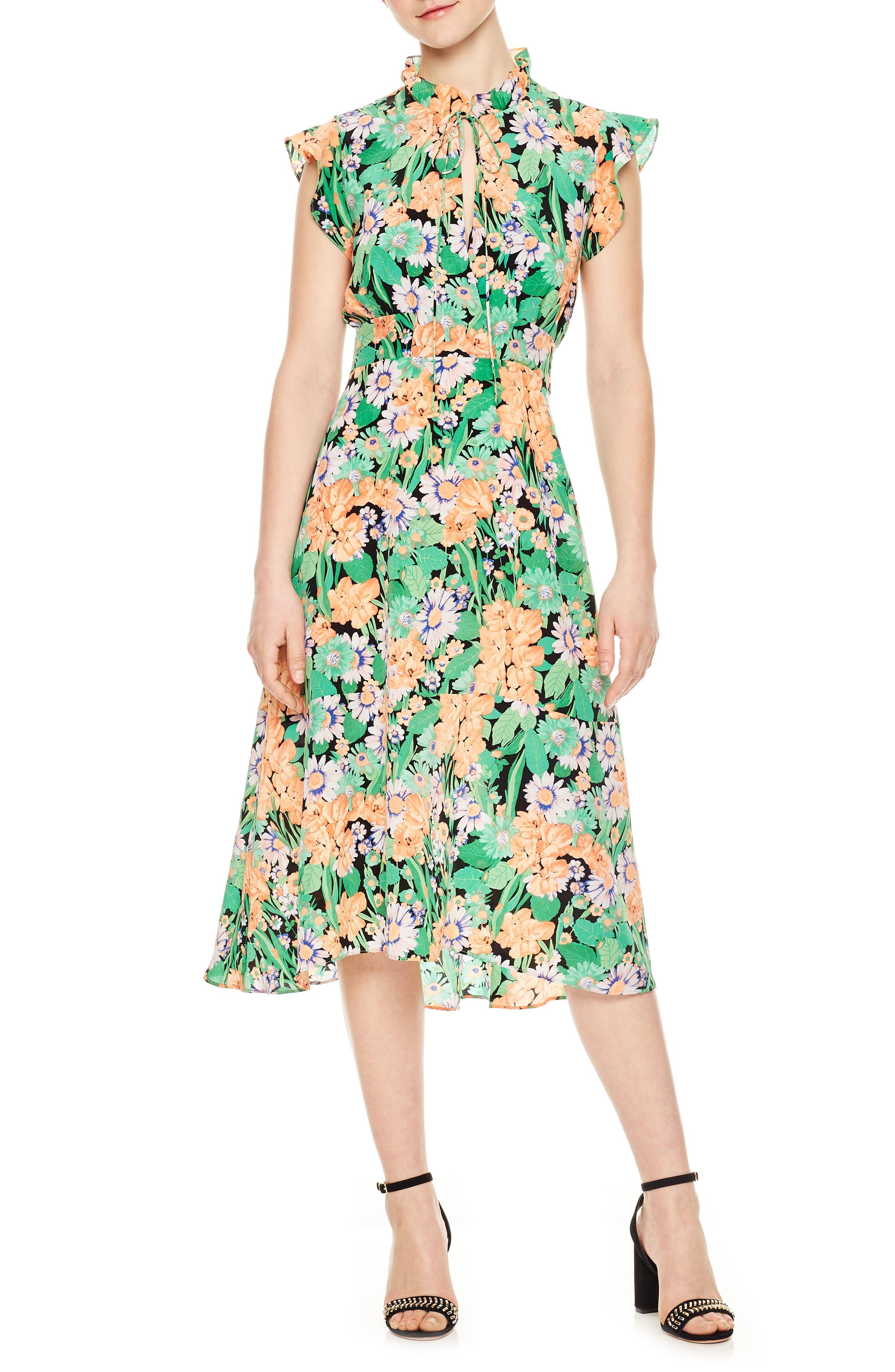 Ruffle Neck Floral Silk Dress,                         Main,                         color, Vert
