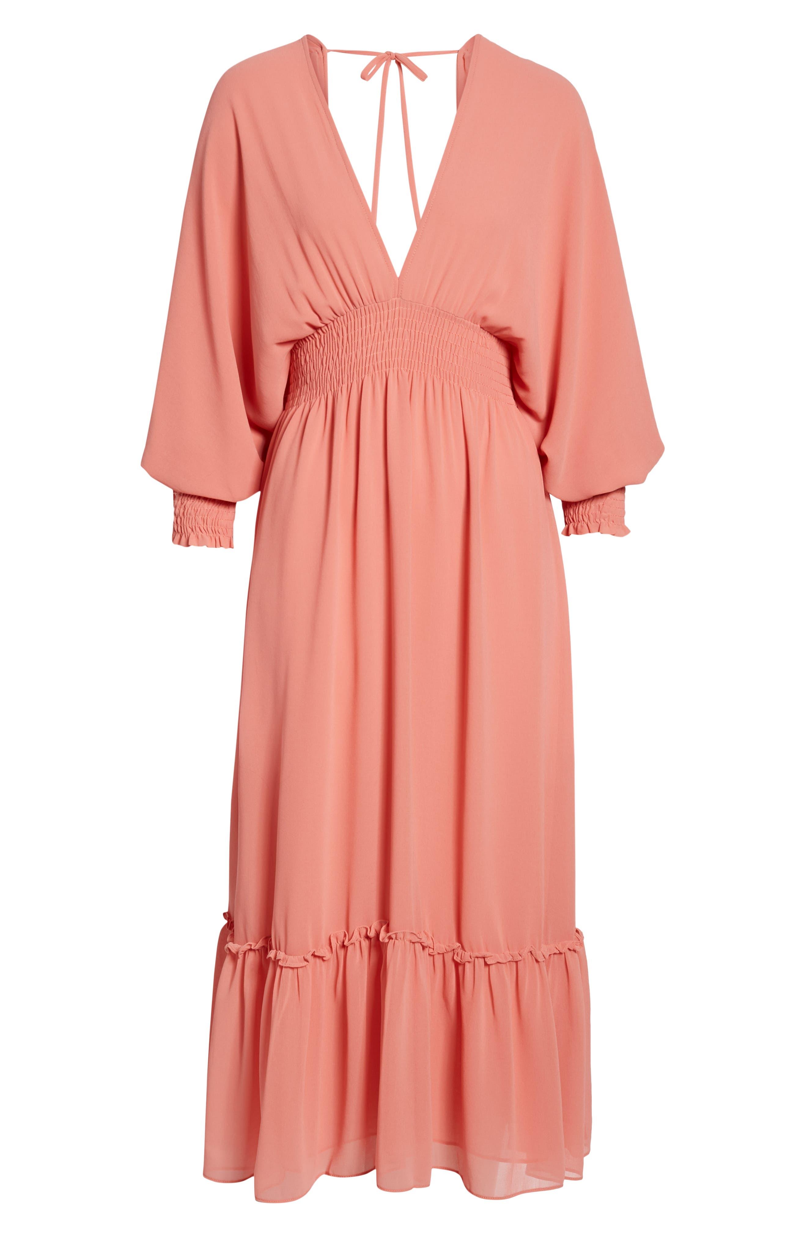 Margaux Midi Dress,                             Alternate thumbnail 7, color,                             Blush