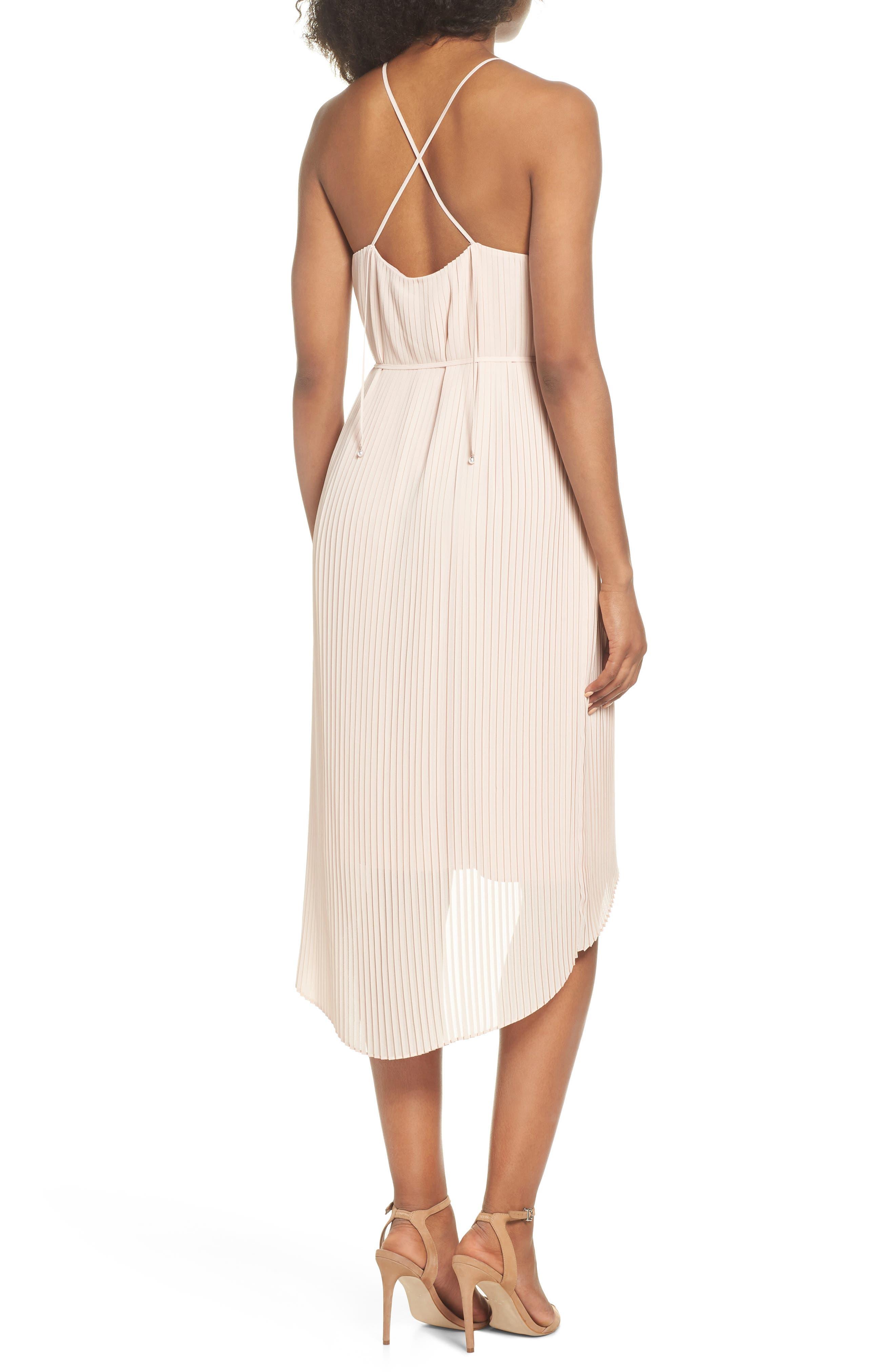 Pleated Midi Dress,                             Alternate thumbnail 2, color,                             Blush