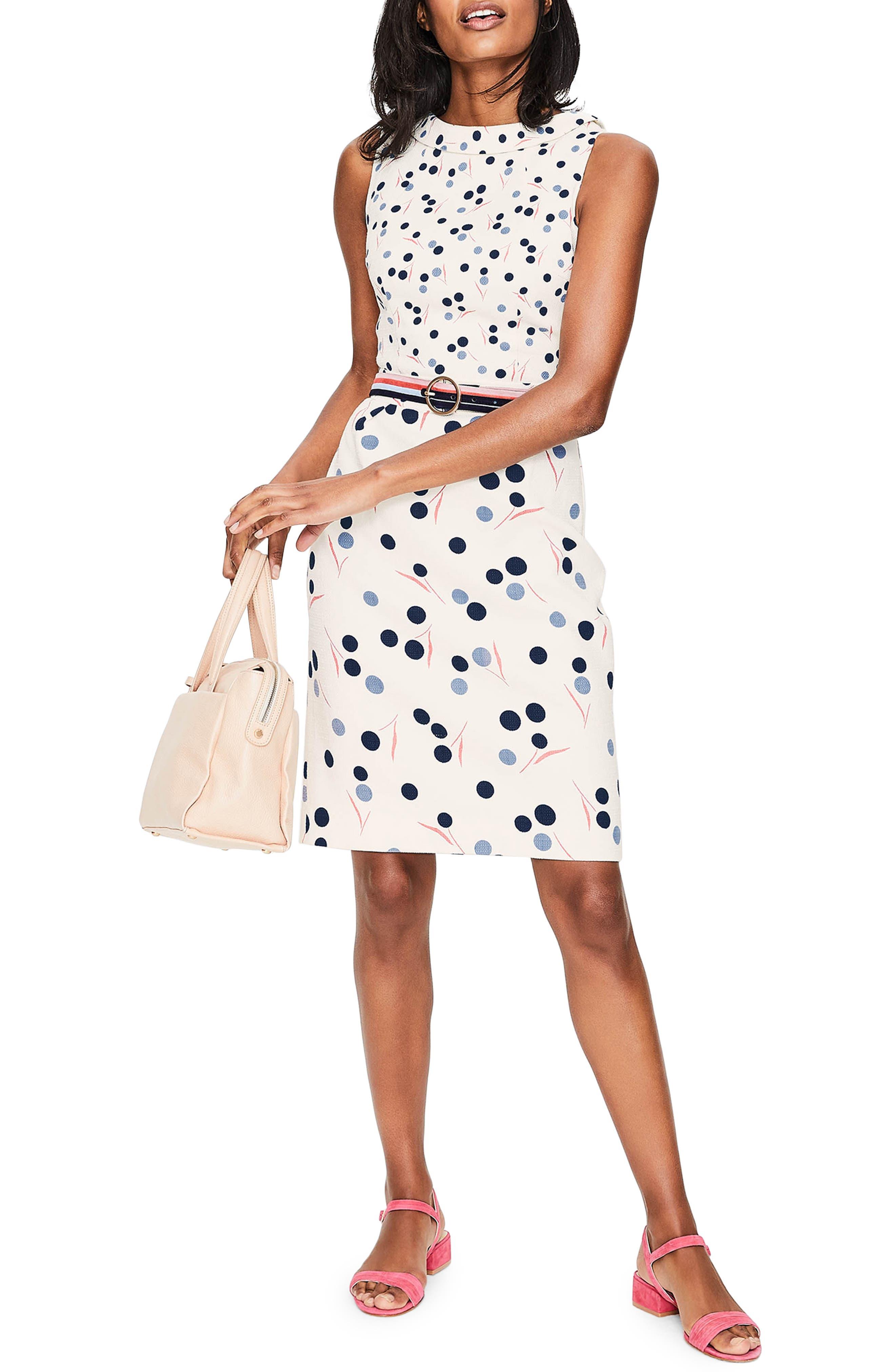 Martha Print Sheath Dress,                             Main thumbnail 1, color,                             Ivory Dandelion Large