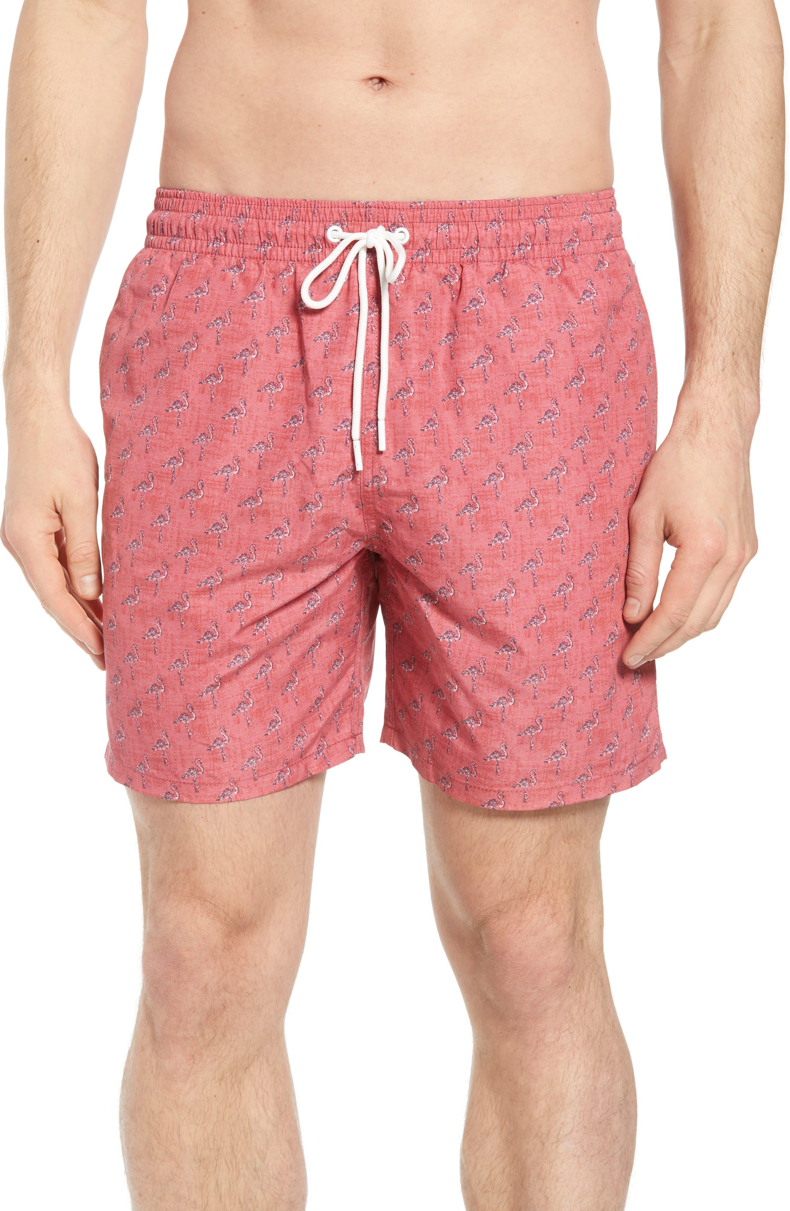 Dryden Regular Fit Print Swim Trunks,                         Main,                         color, Pomegranate