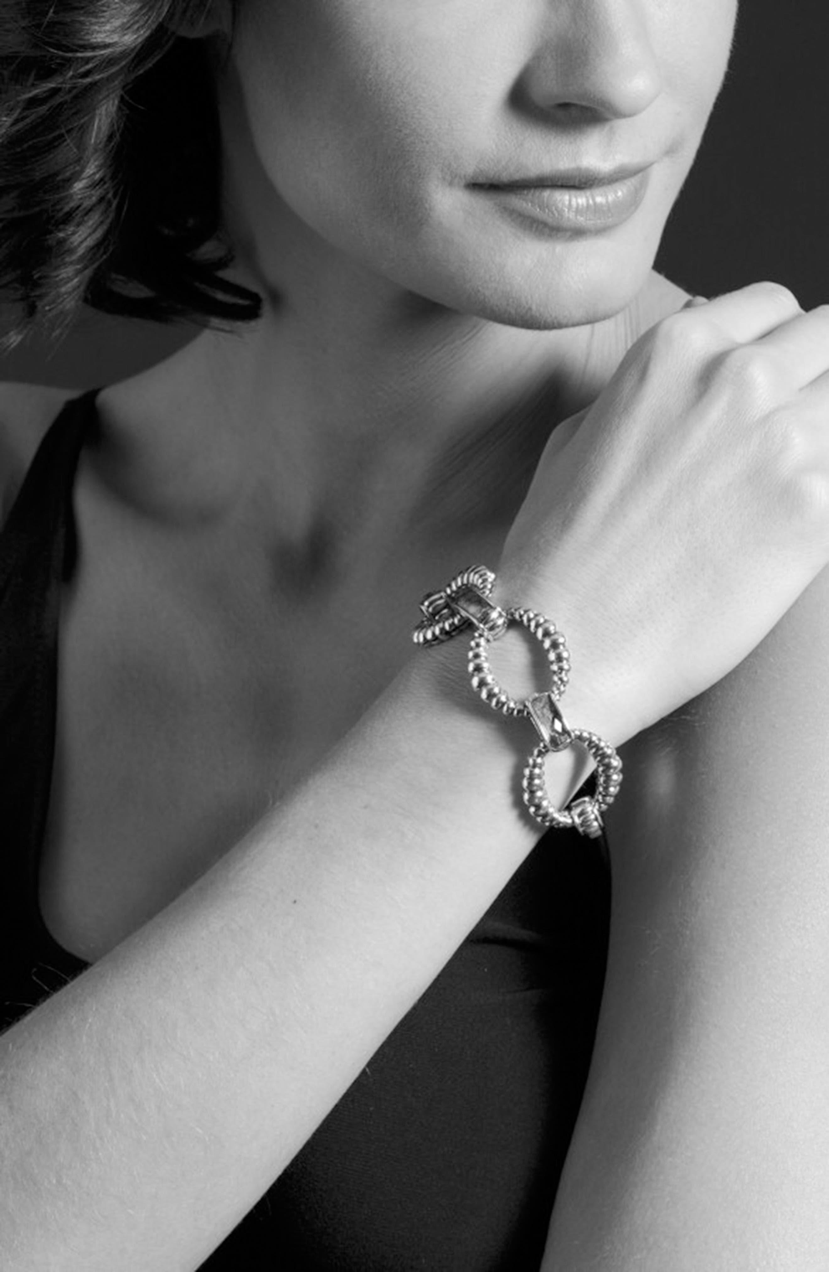 Maya Fluted Link Bracelet,                             Alternate thumbnail 3, color,                             Lapis