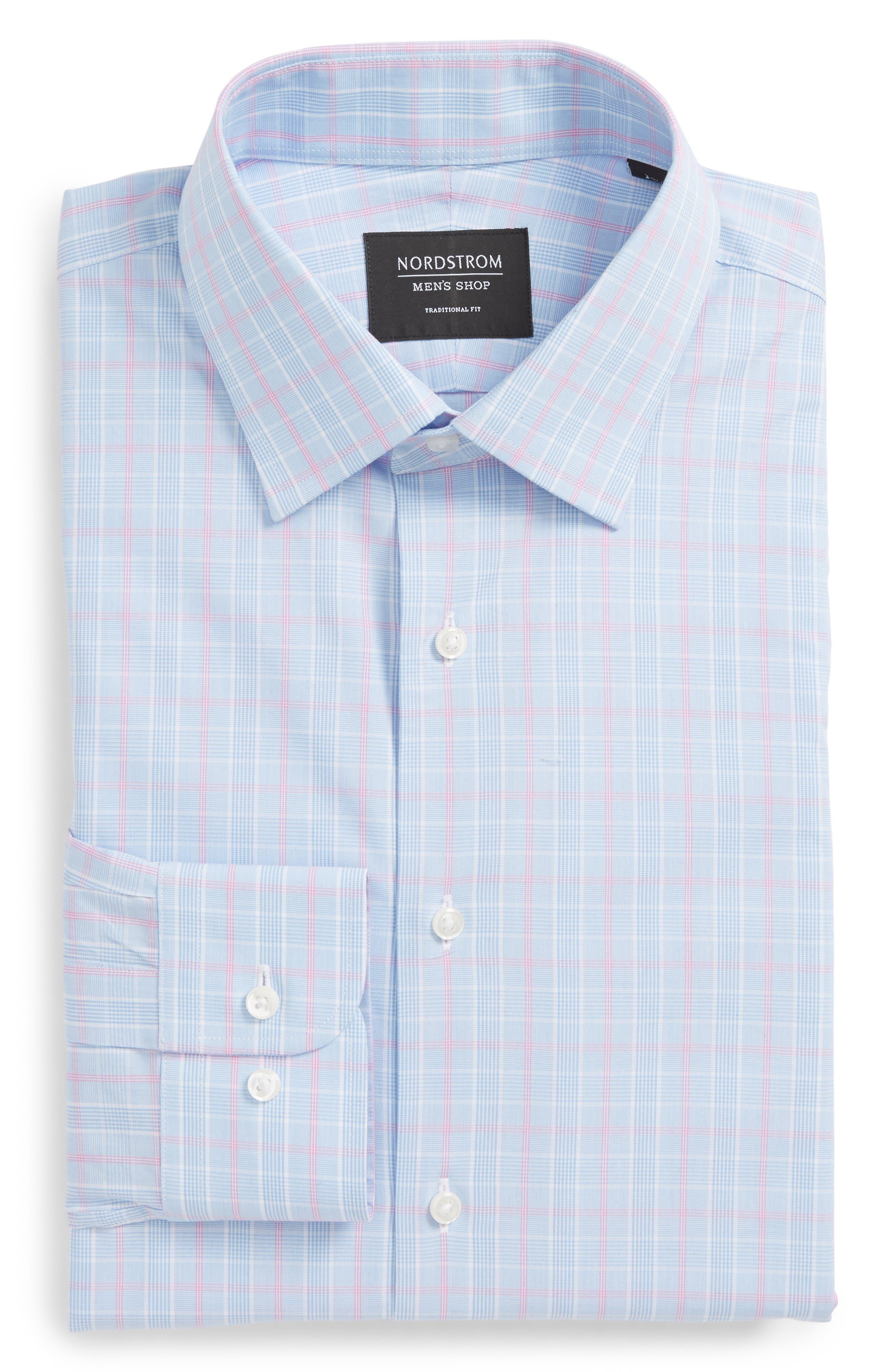 Traditional Fit Plaid Dress Shirt,                             Alternate thumbnail 6, color,                             Blue Hydrangea