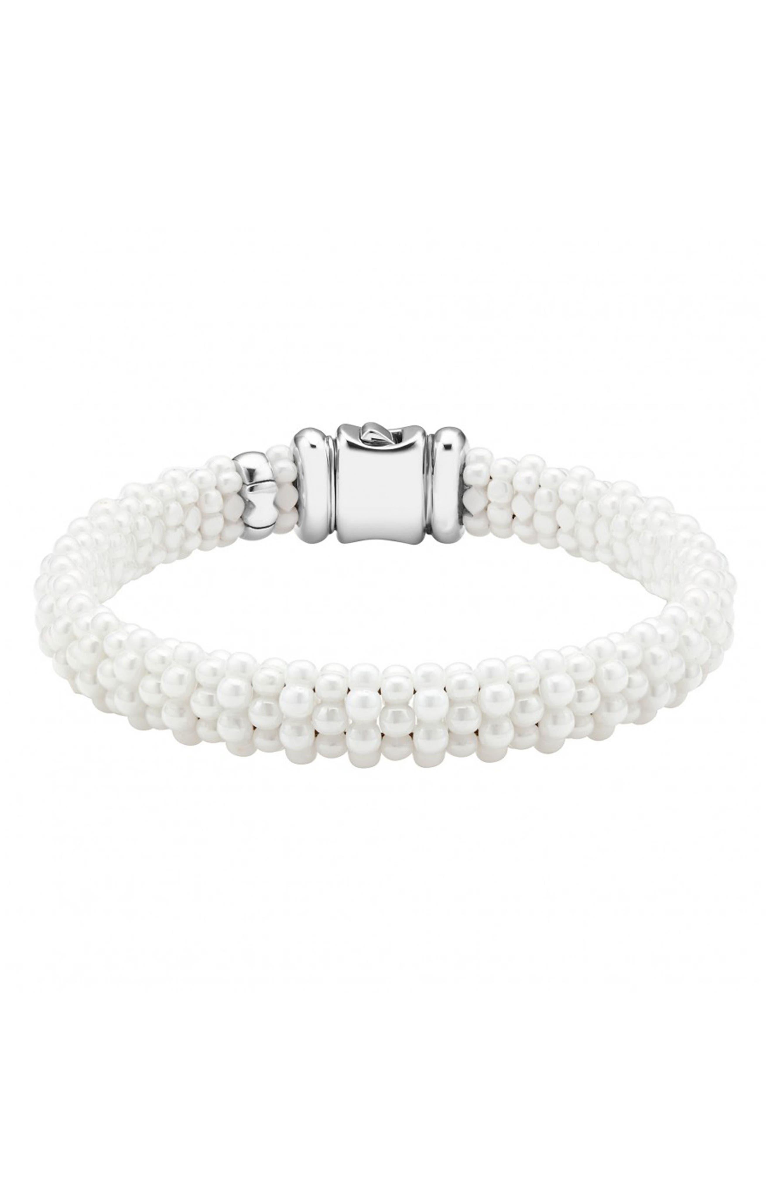 'White Caviar' Rope Bracelet,                         Main,                         color, White Caviar