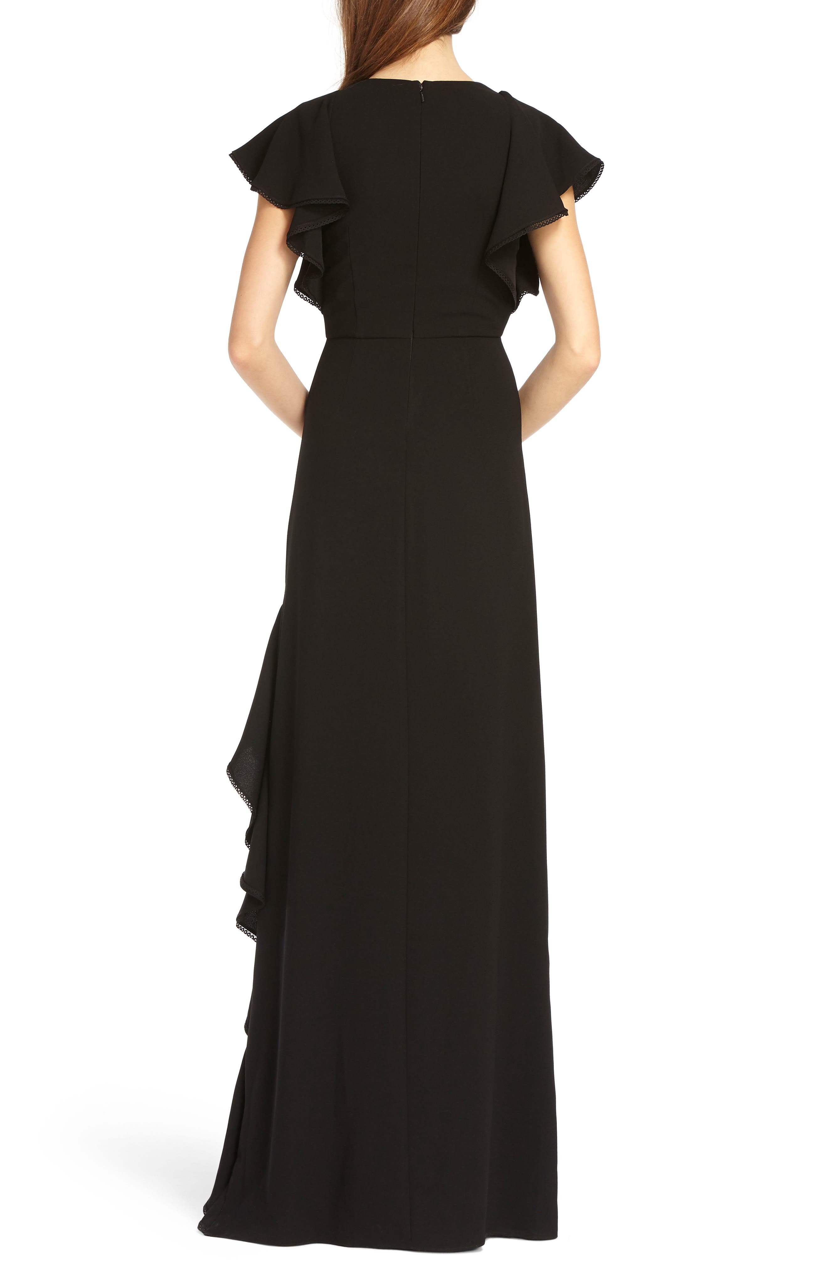 V-Neck Ruffle Gown,                             Alternate thumbnail 2, color,                             Black