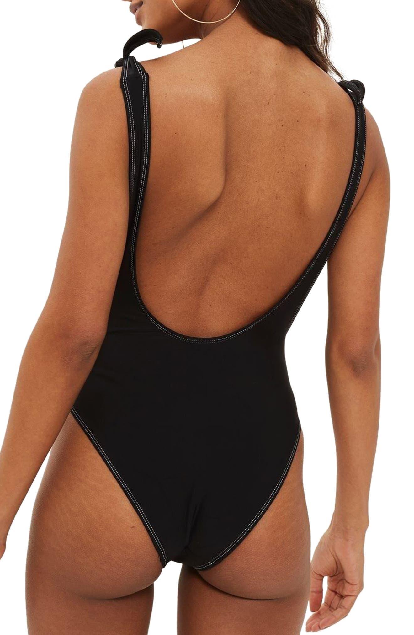 Tie Shoulder One-Piece Swimsuit,                             Alternate thumbnail 2, color,                             Black
