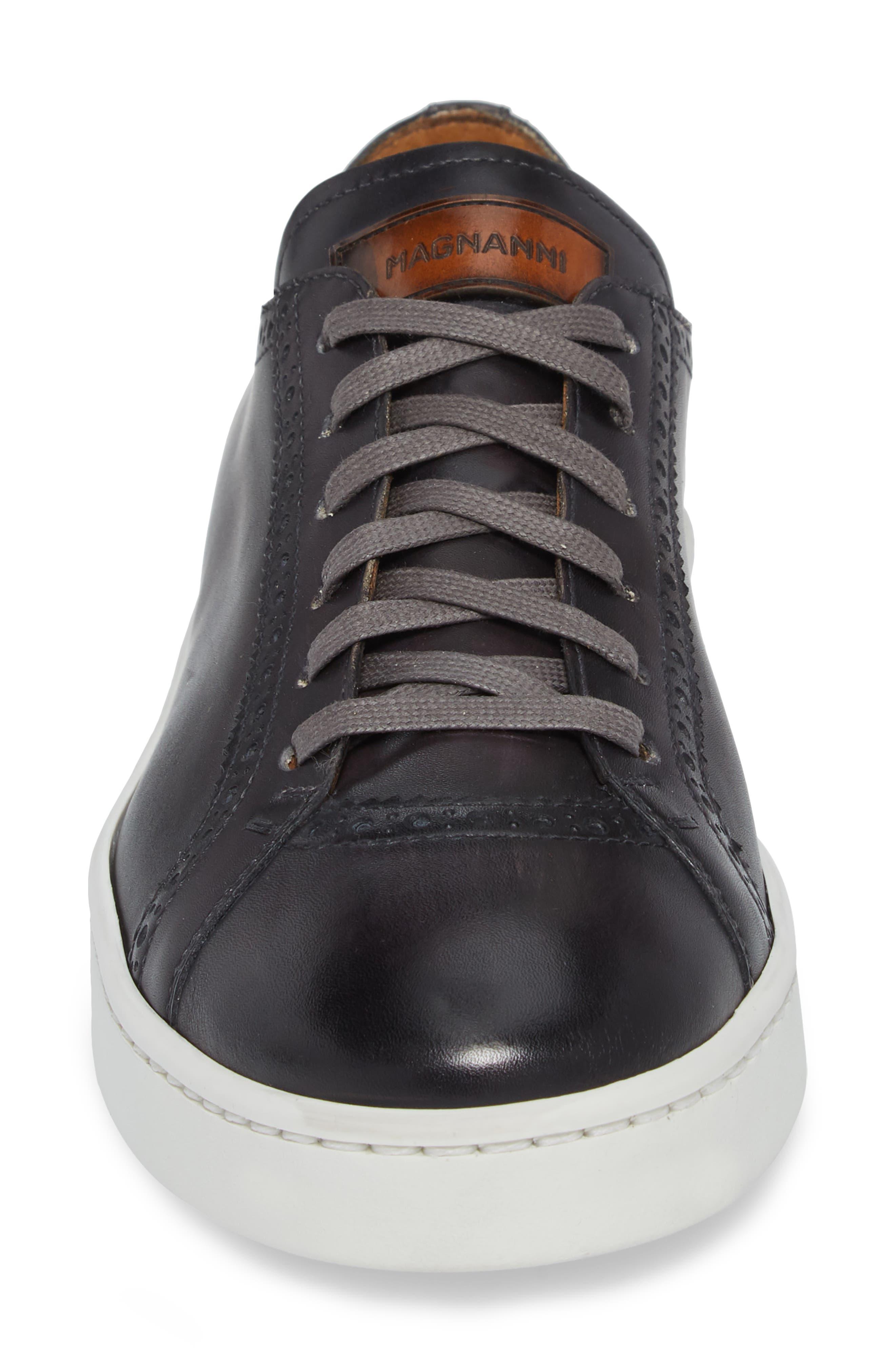 Juniper Brogued Low Top Sneaker,                             Alternate thumbnail 4, color,                             Grey Leather