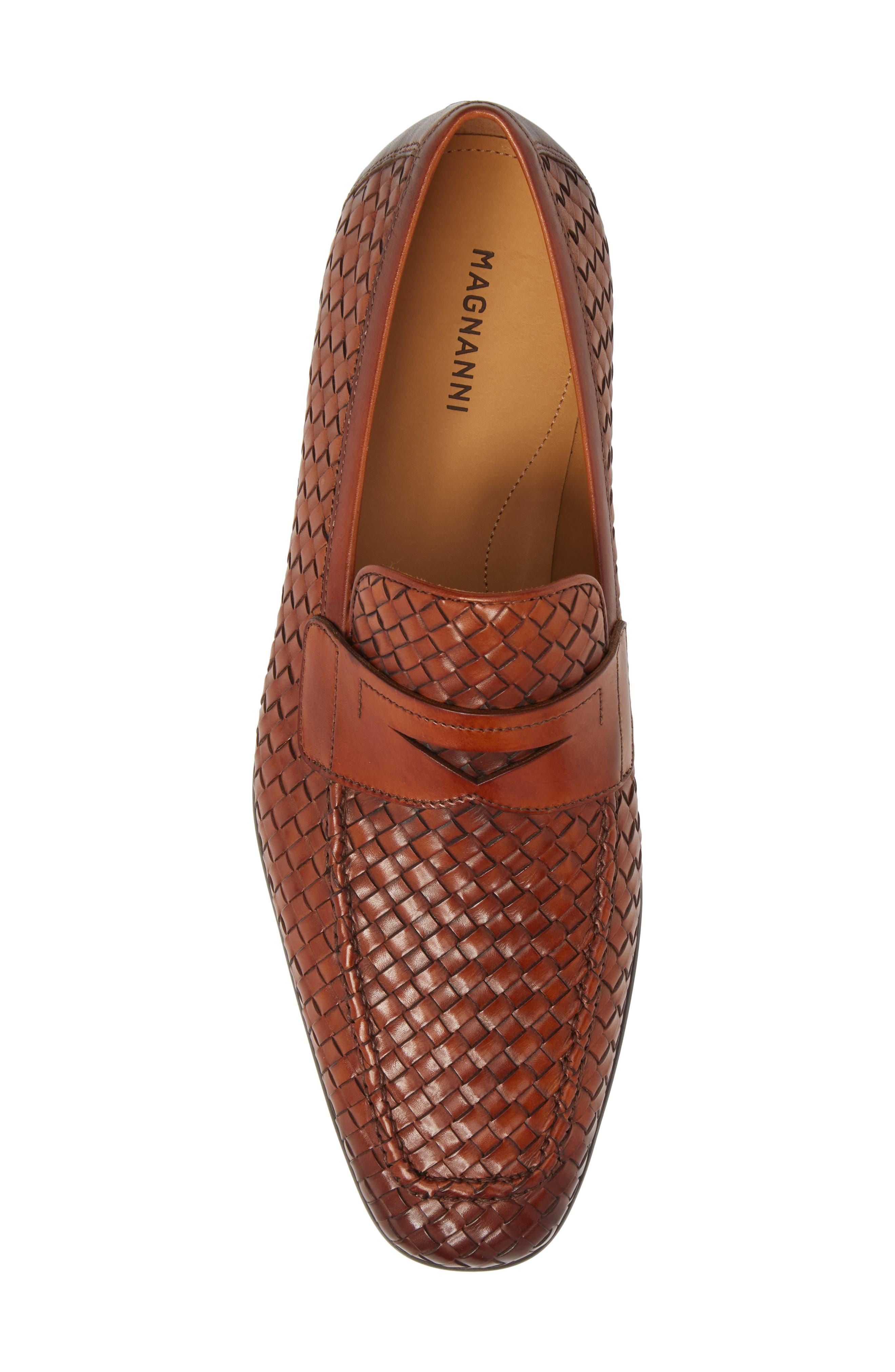 Rafa II Woven Penny Loafer,                             Alternate thumbnail 5, color,                             Cognac Leather