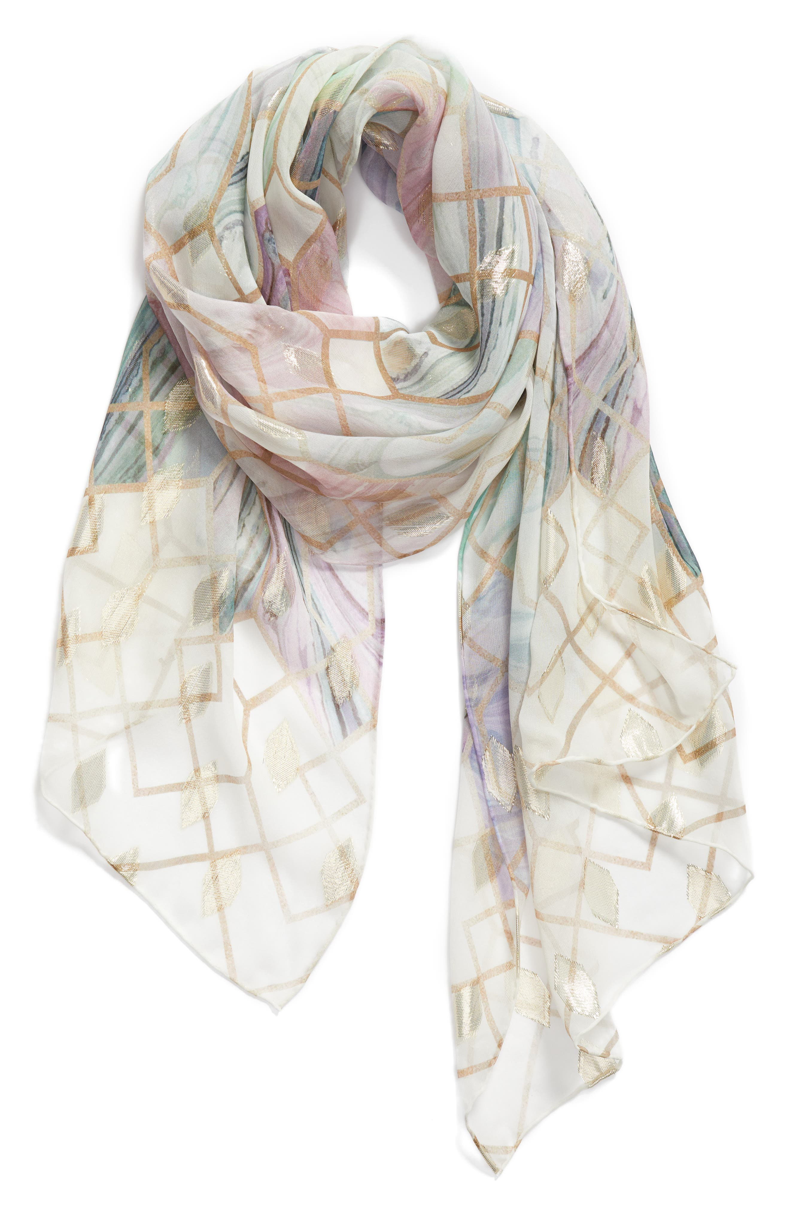 Alieee- Sea Of Clouds Long Silk Scarf,                             Alternate thumbnail 2, color,                             White