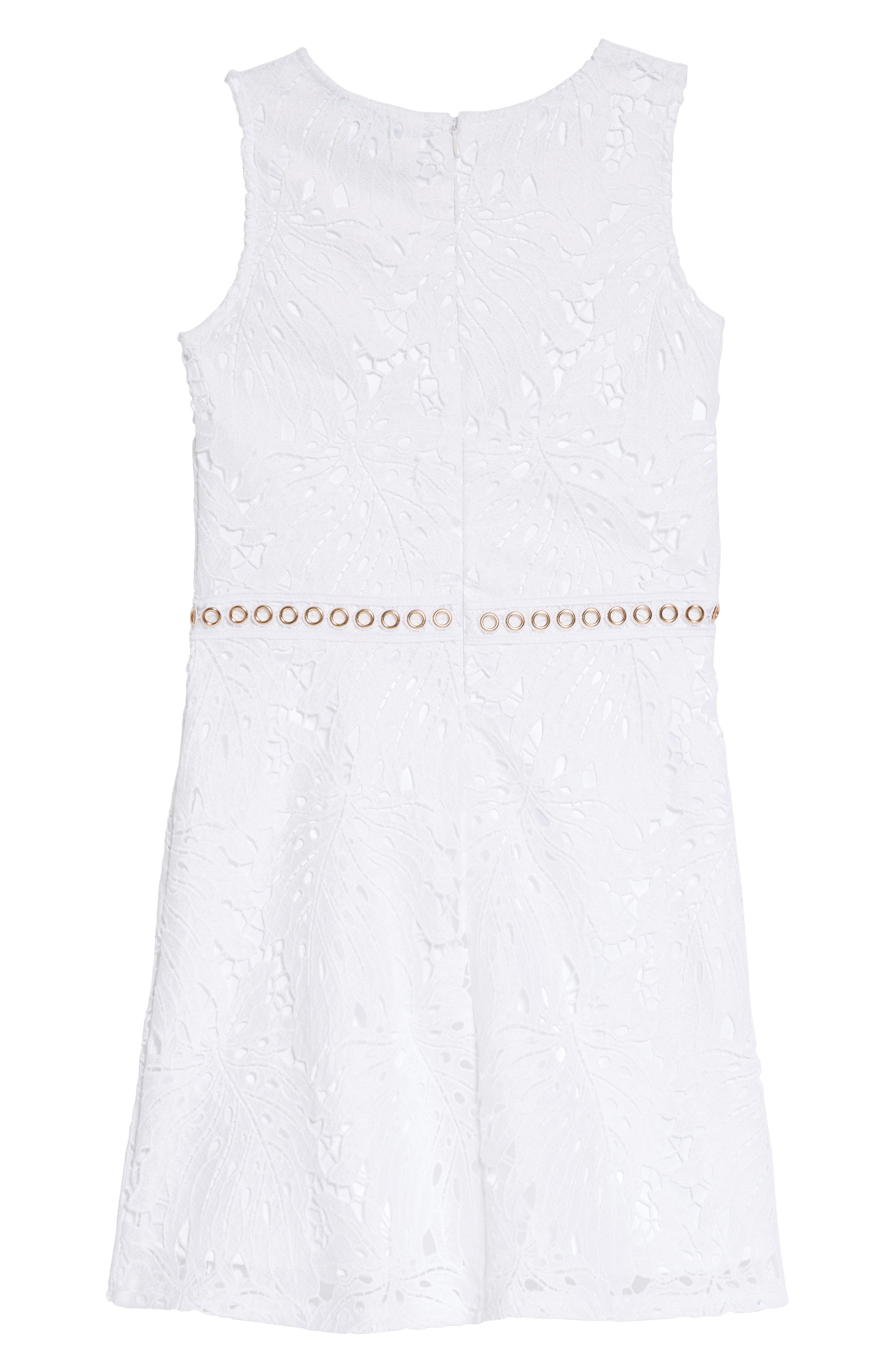 Lace Sleeveless Dress,                             Alternate thumbnail 3, color,                             True White
