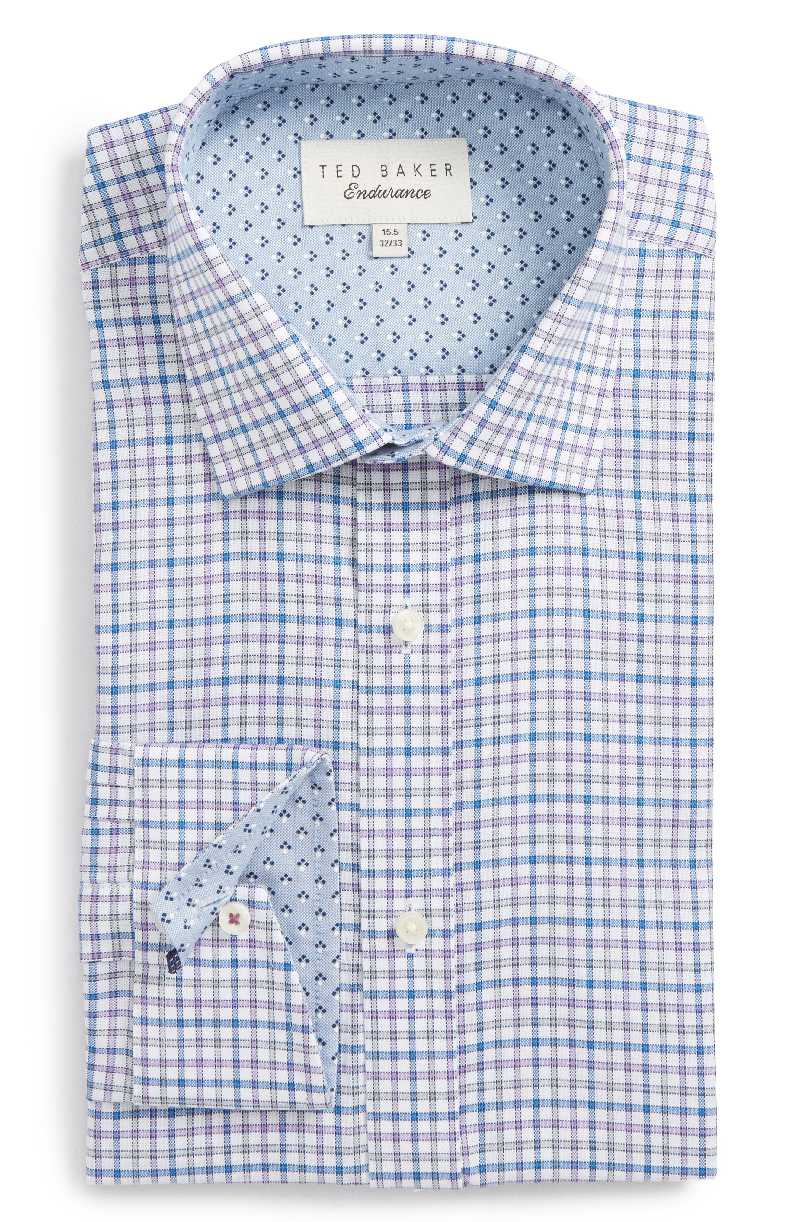 Welsh Trim Fit Check Dress Shirt,                             Alternate thumbnail 6, color,                             Purple