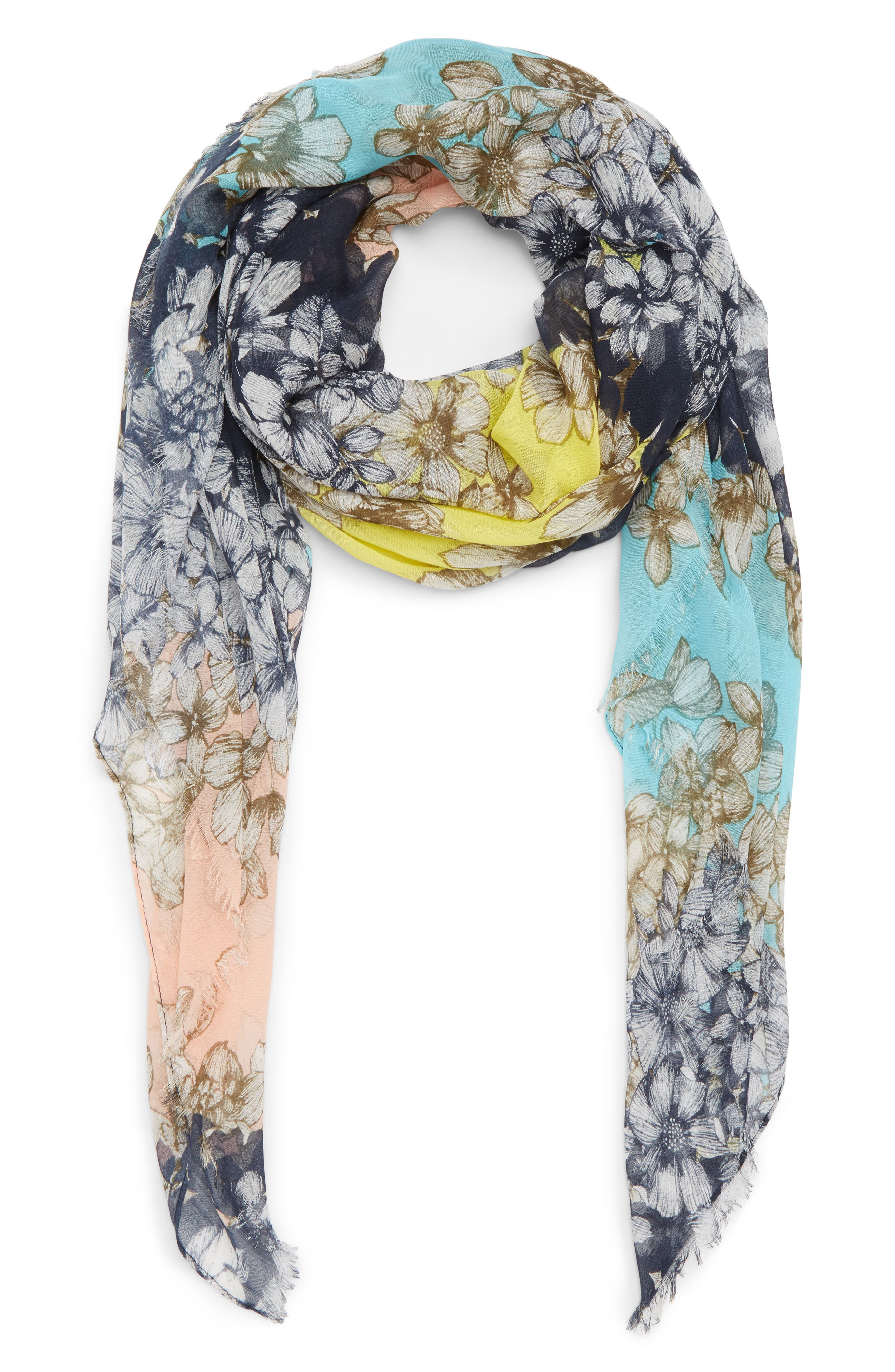 Print Square Scarf,                             Main thumbnail 1, color,                             Navy Floral Stripe Print