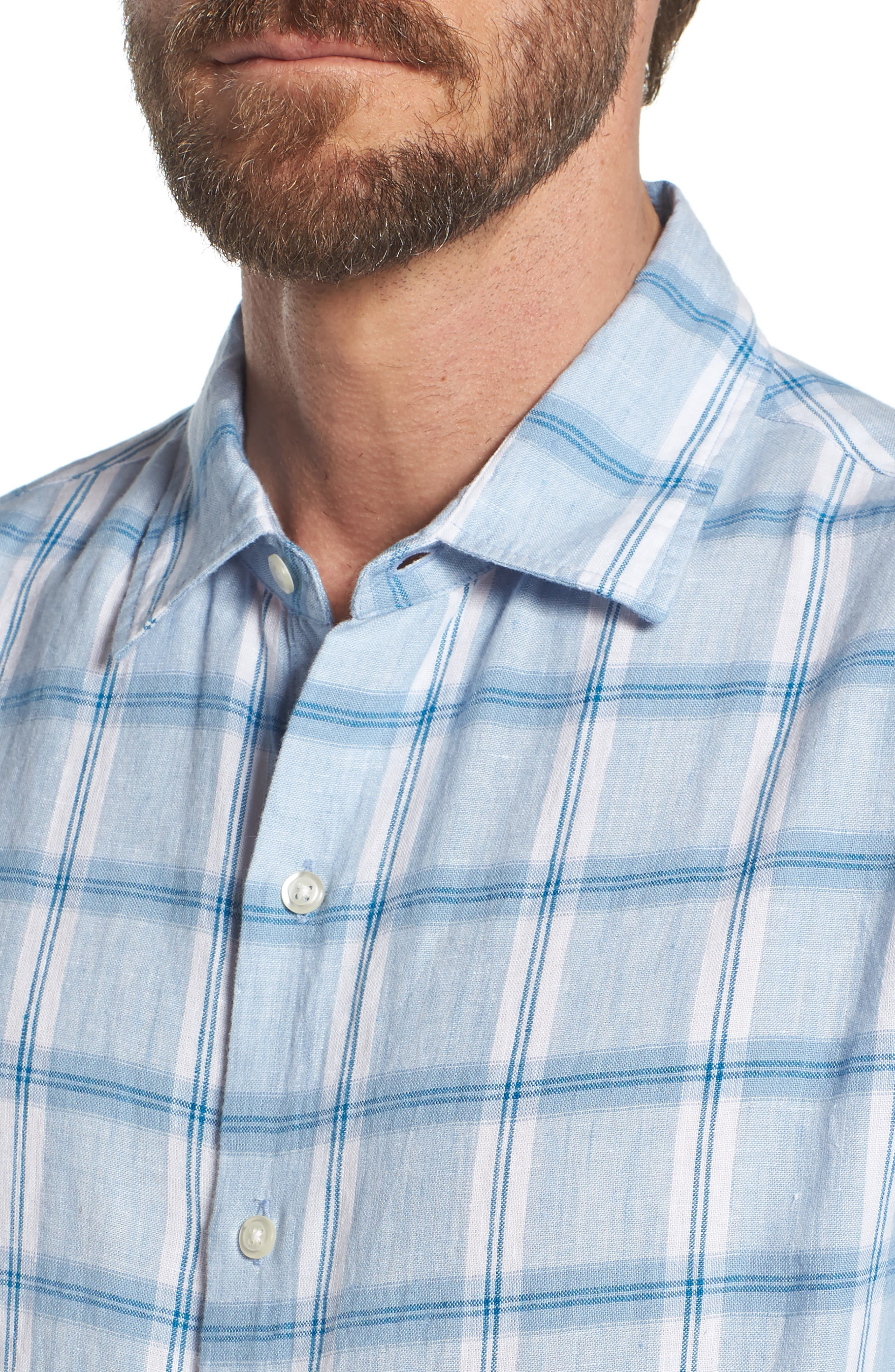 Alternate Image 2  - Bonobos Slim Fit Plaid Linen & Cotton Sport Shirt