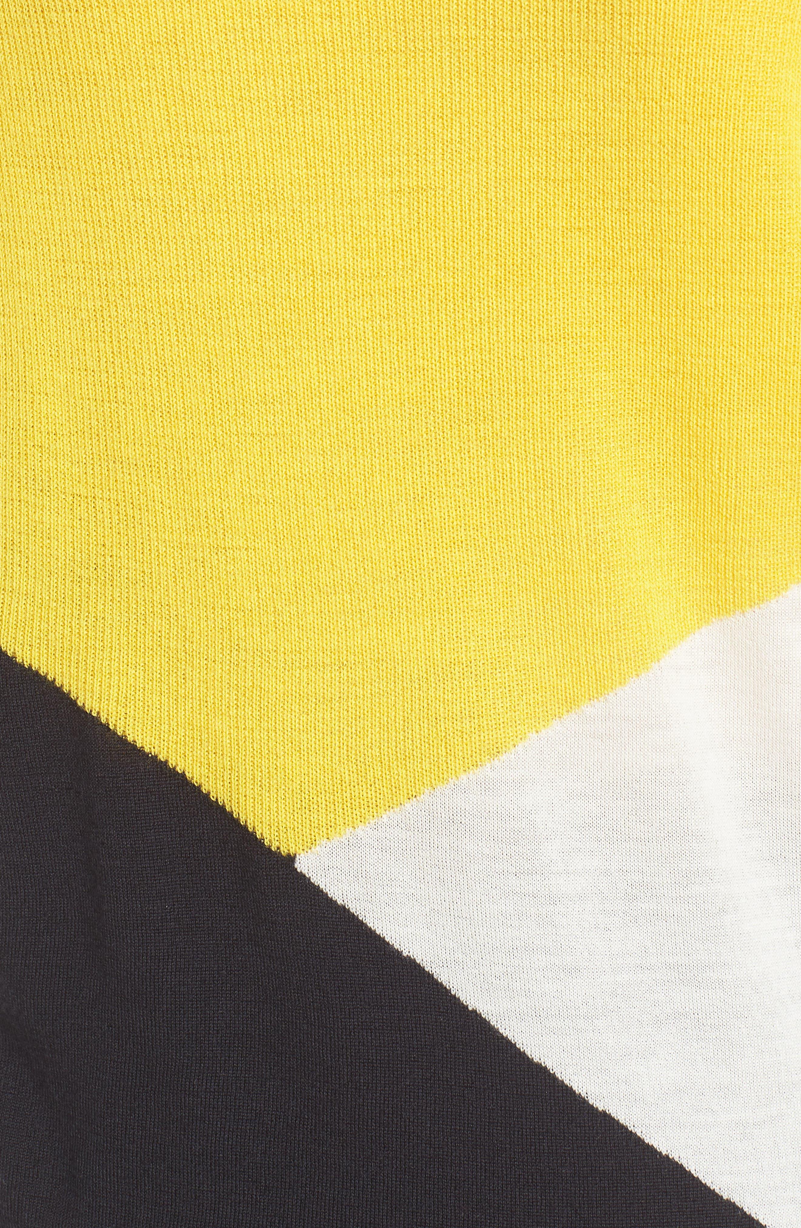 Farrow Colorblock Wool Sweater,                             Alternate thumbnail 5, color,                             Sun Yellow Fantasy