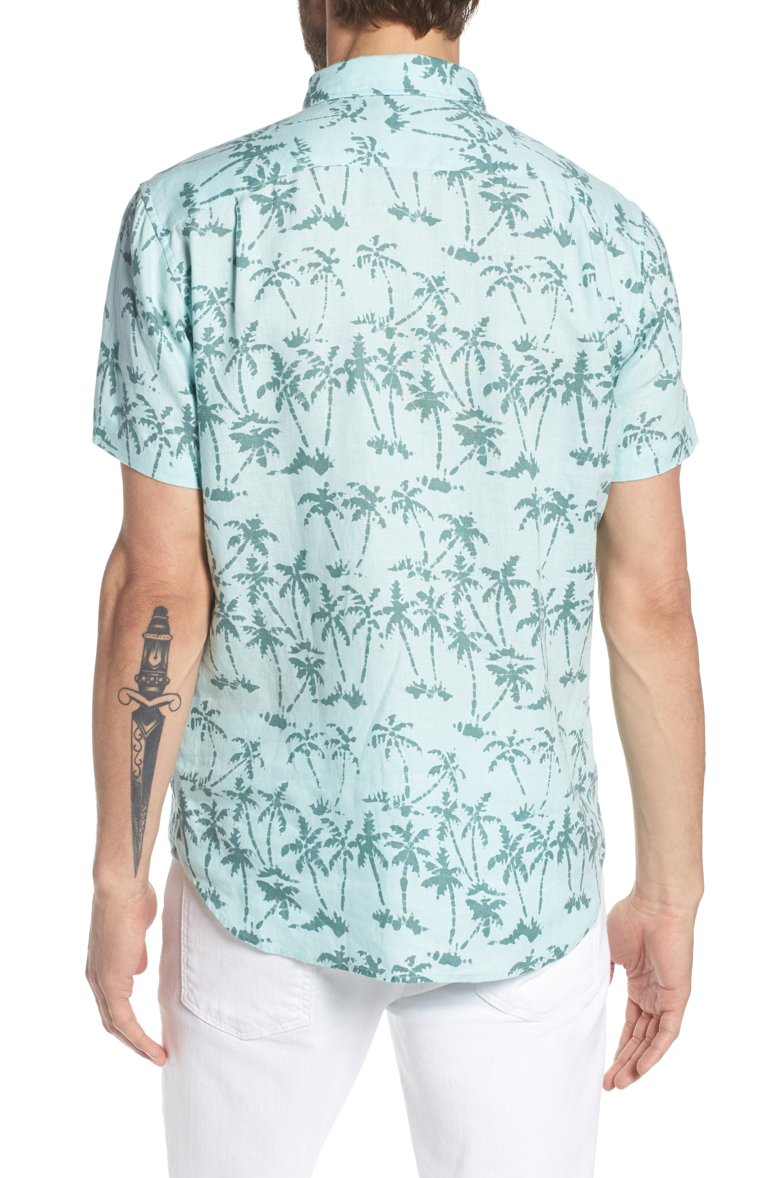 Riviera Slim Fit Palm Print Linen Sport Shirt,                             Alternate thumbnail 3, color,                             Batik Palms - Hockney Pool