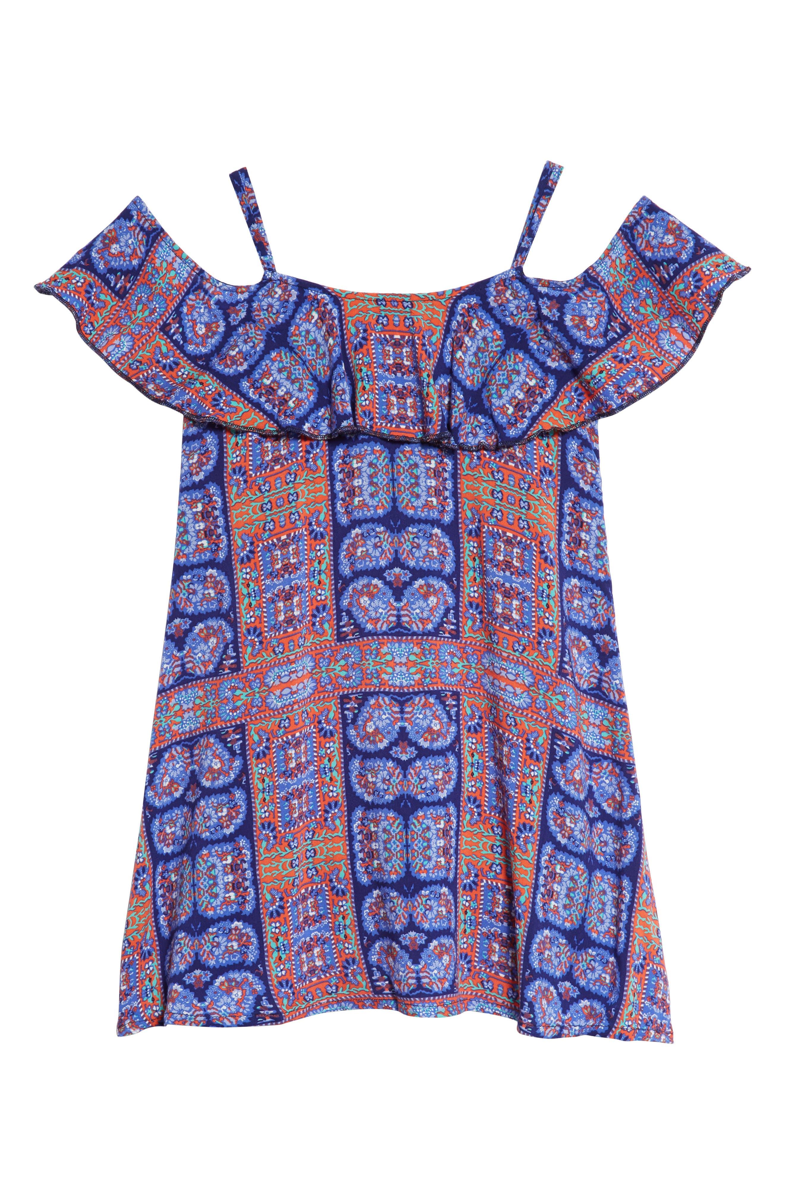 Off-Shoulder Ruffle Dress,                         Main,                         color, Navy Ribbon Framed Floral