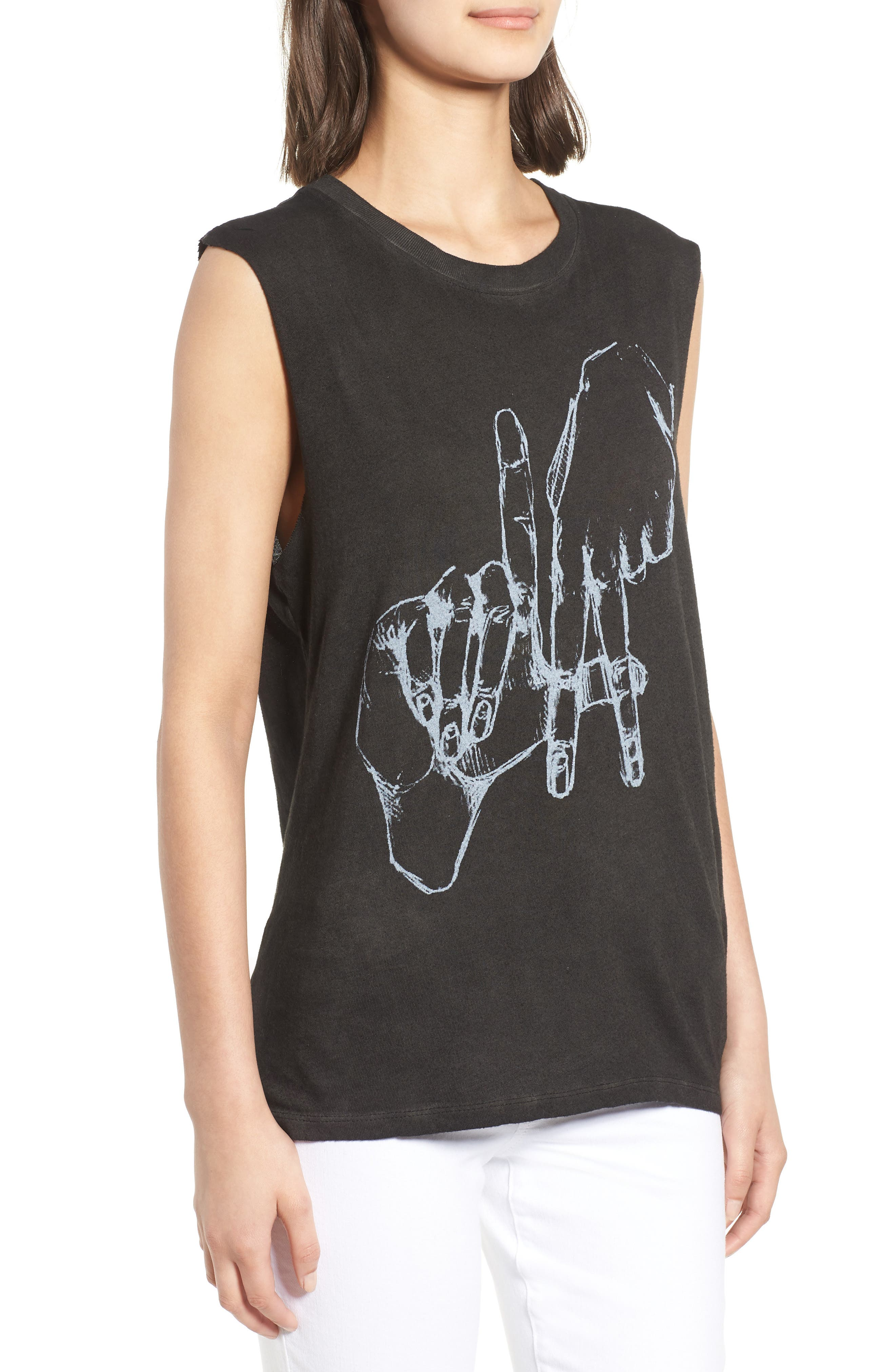 Los Angeles Graphic Muscle Tee,                             Alternate thumbnail 3, color,                             Vintage Black