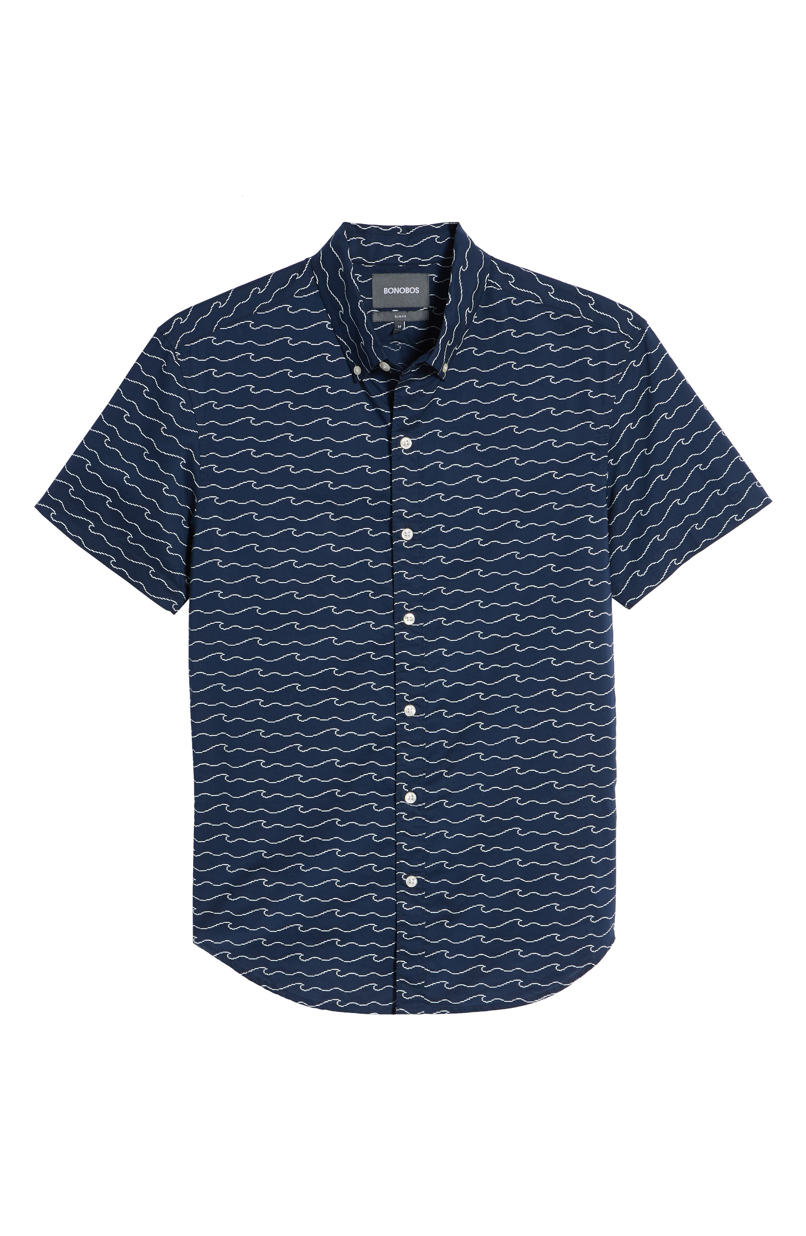 Slim Fit Print Sport Shirt,                             Alternate thumbnail 6, color,                             Digital Wave - Deep Pacific