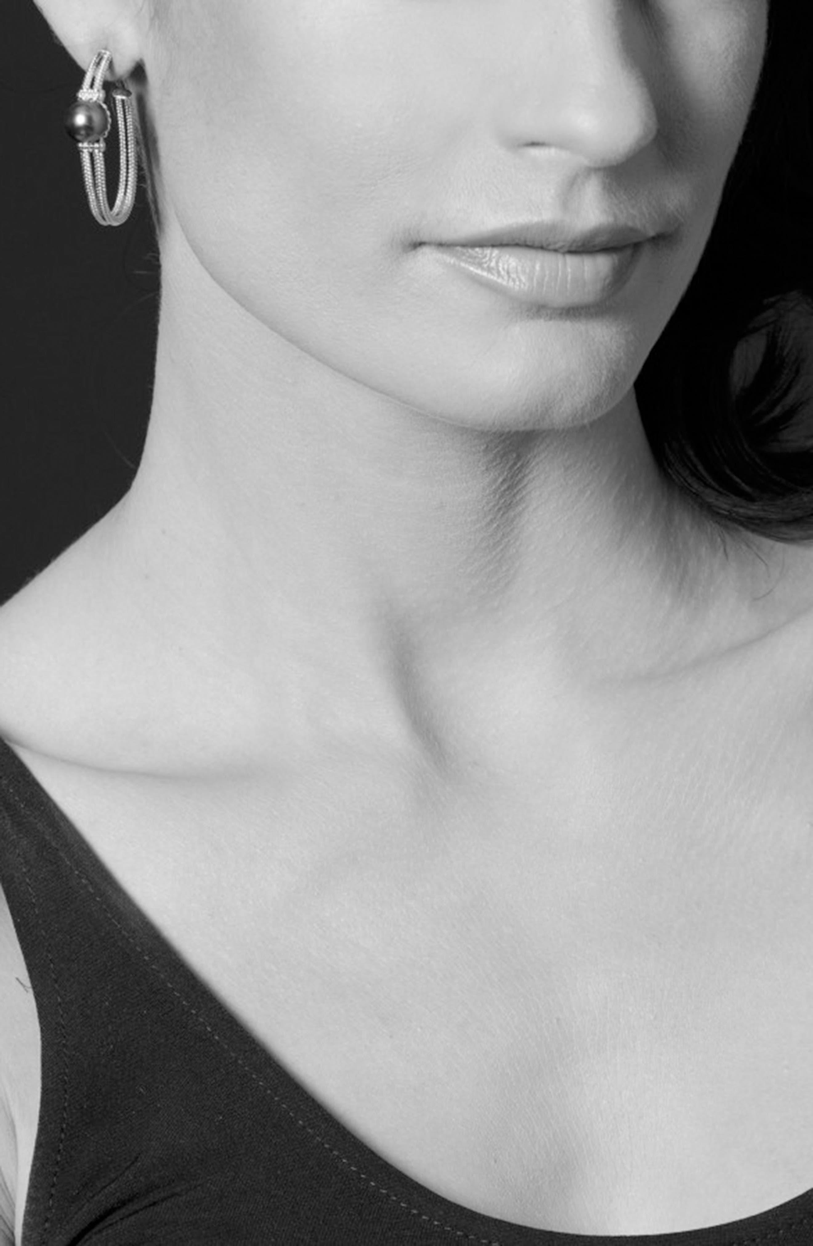 Luna 10mm Pearl Hoop Earrings,                             Alternate thumbnail 3, color,                             Black Pearl