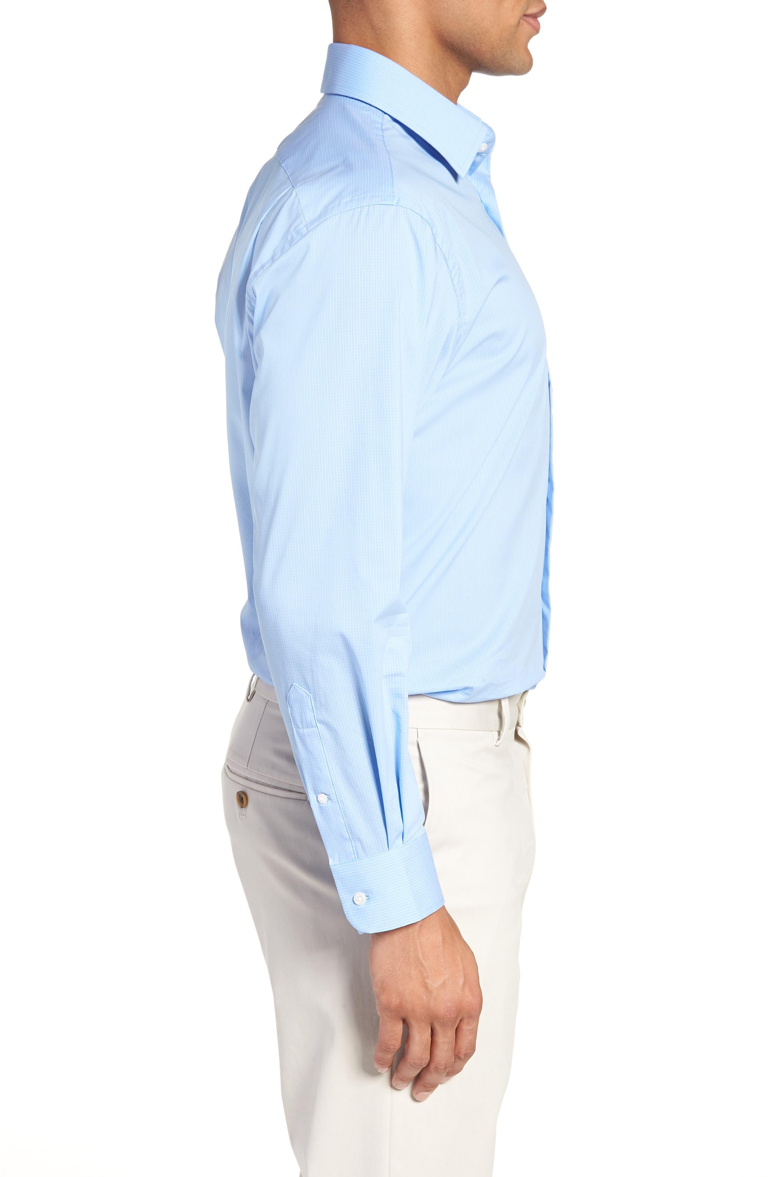 Traditional Fit Stretch Check Dress Shirt,                             Alternate thumbnail 4, color,                             Blue Vista