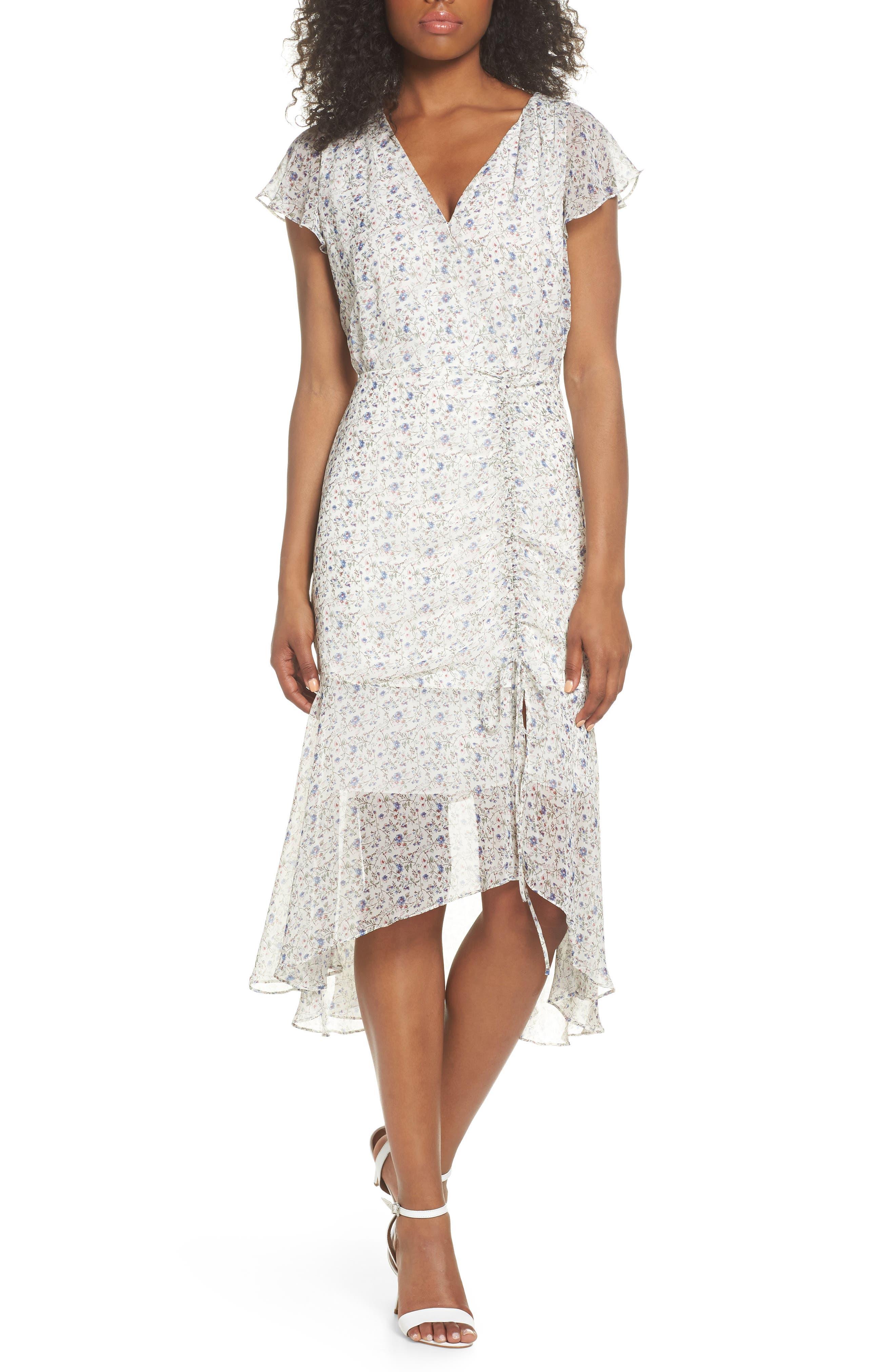 Print Ruched Chiffon Midi Dress,                             Main thumbnail 1, color,                             Ivory