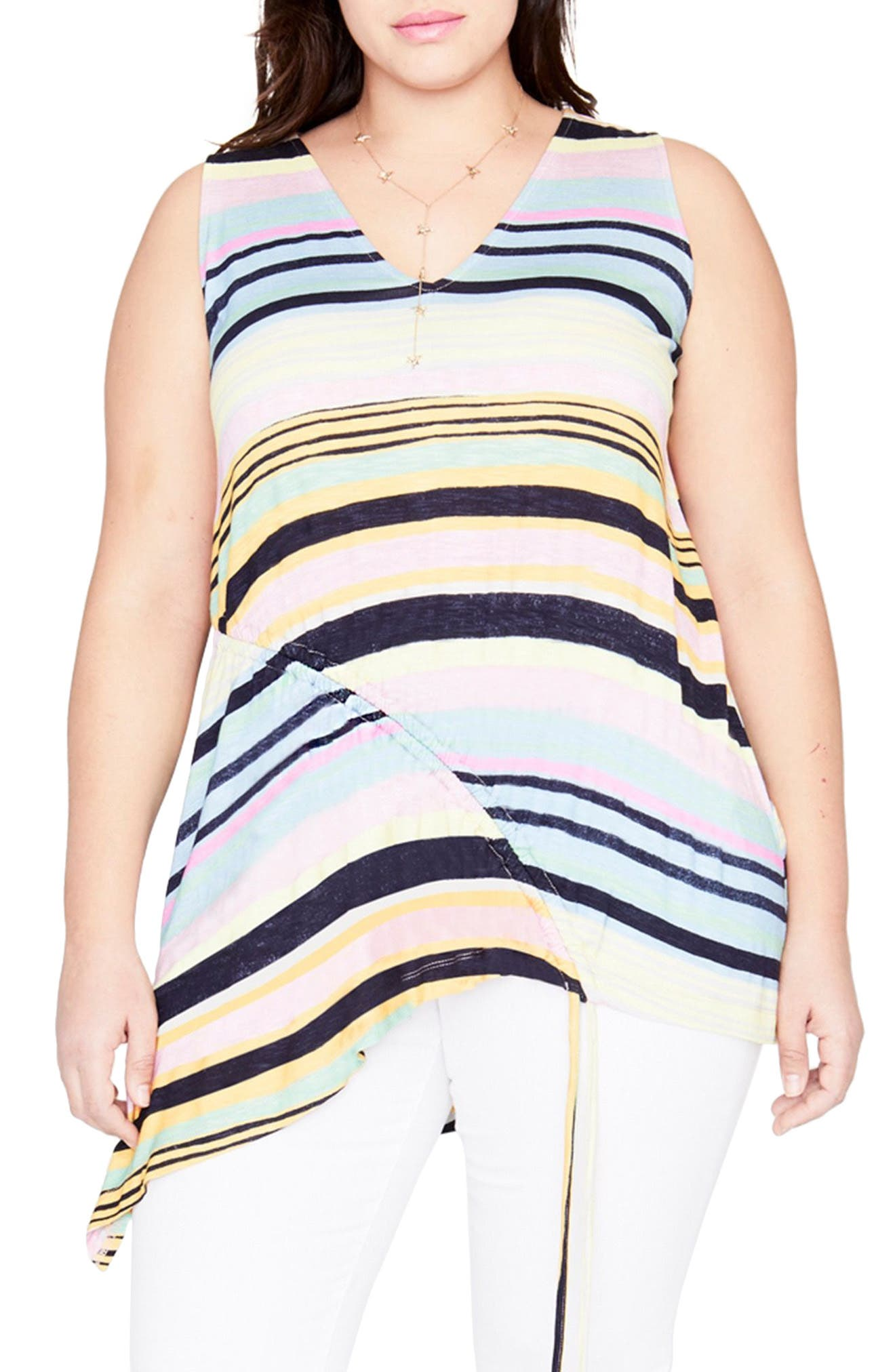 Stripe Drawstring Top,                             Main thumbnail 1, color,                             Navy Combo