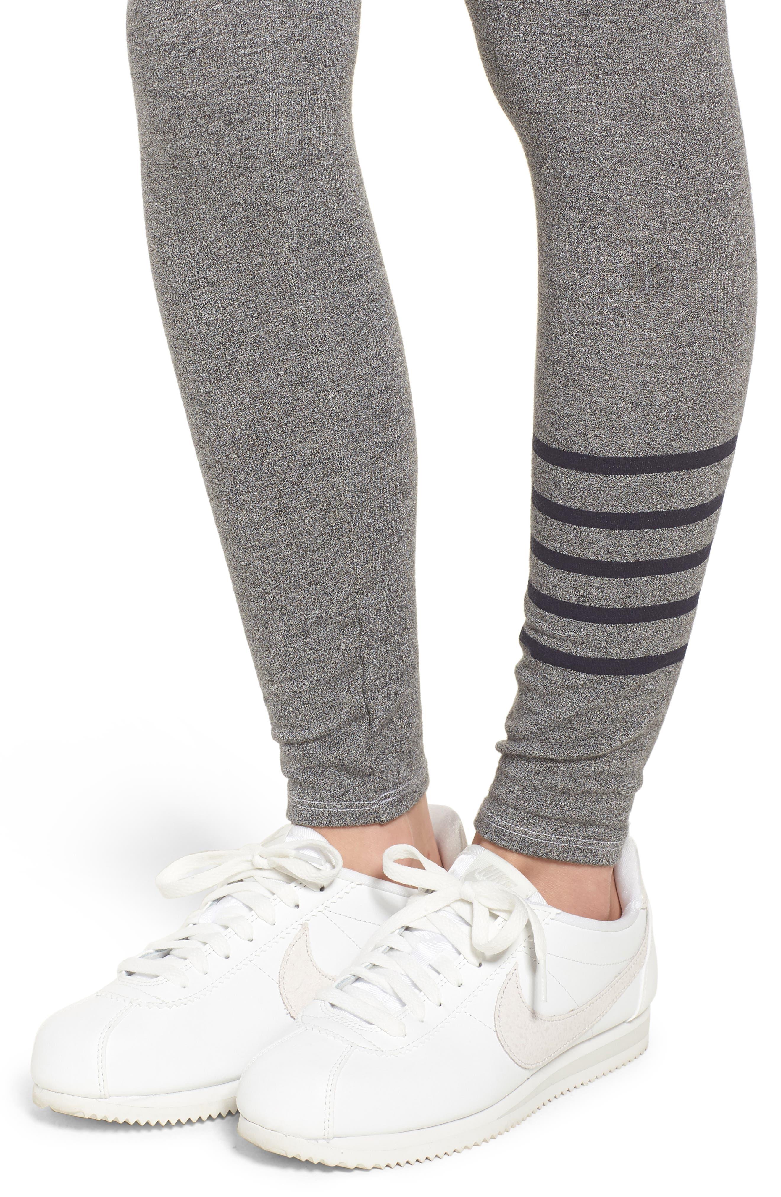 Stripe Yoga Pants,                             Alternate thumbnail 4, color,                             Heather Grey