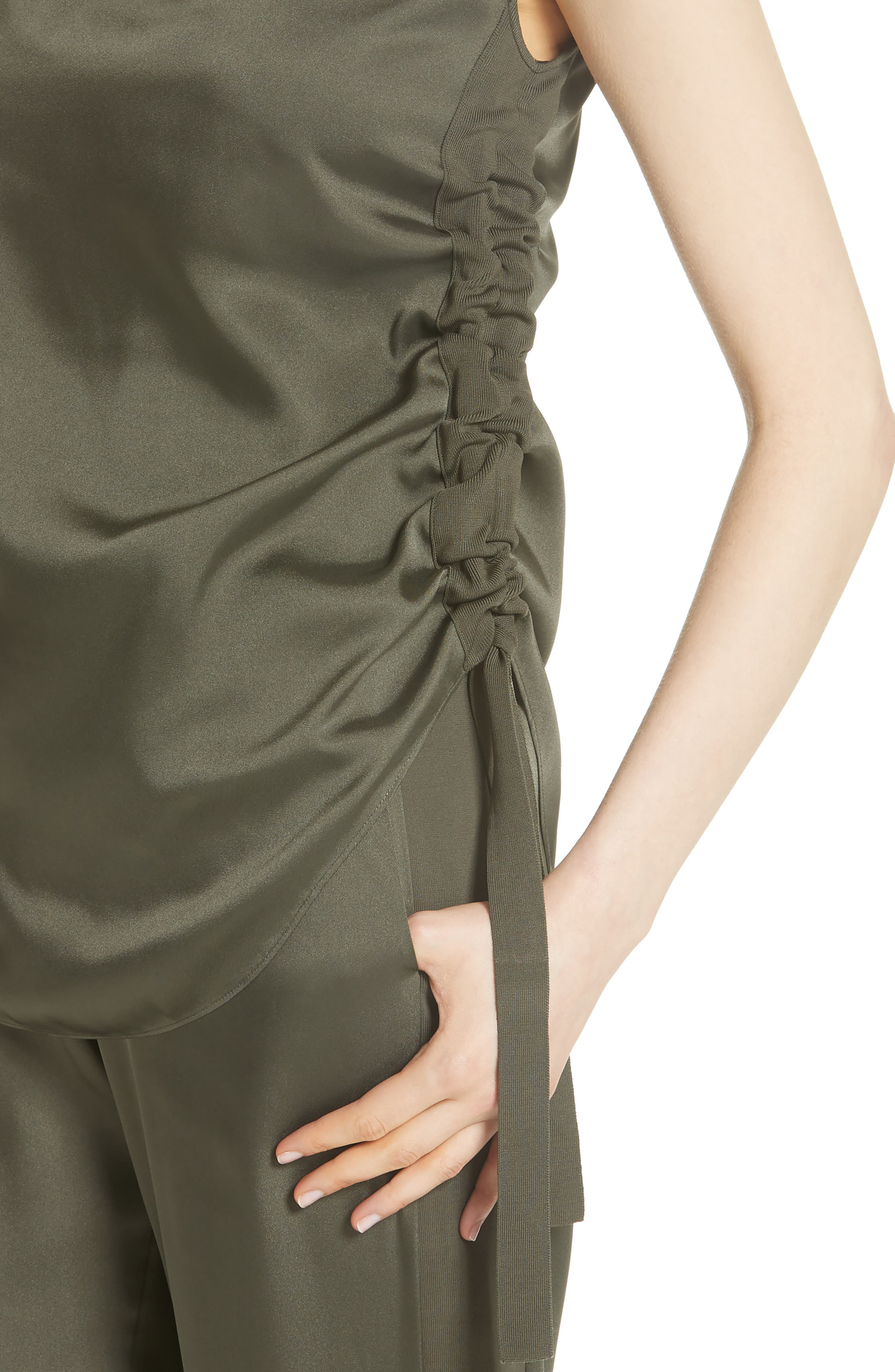 Side Ruched Top,                             Alternate thumbnail 4, color,                             Khaki