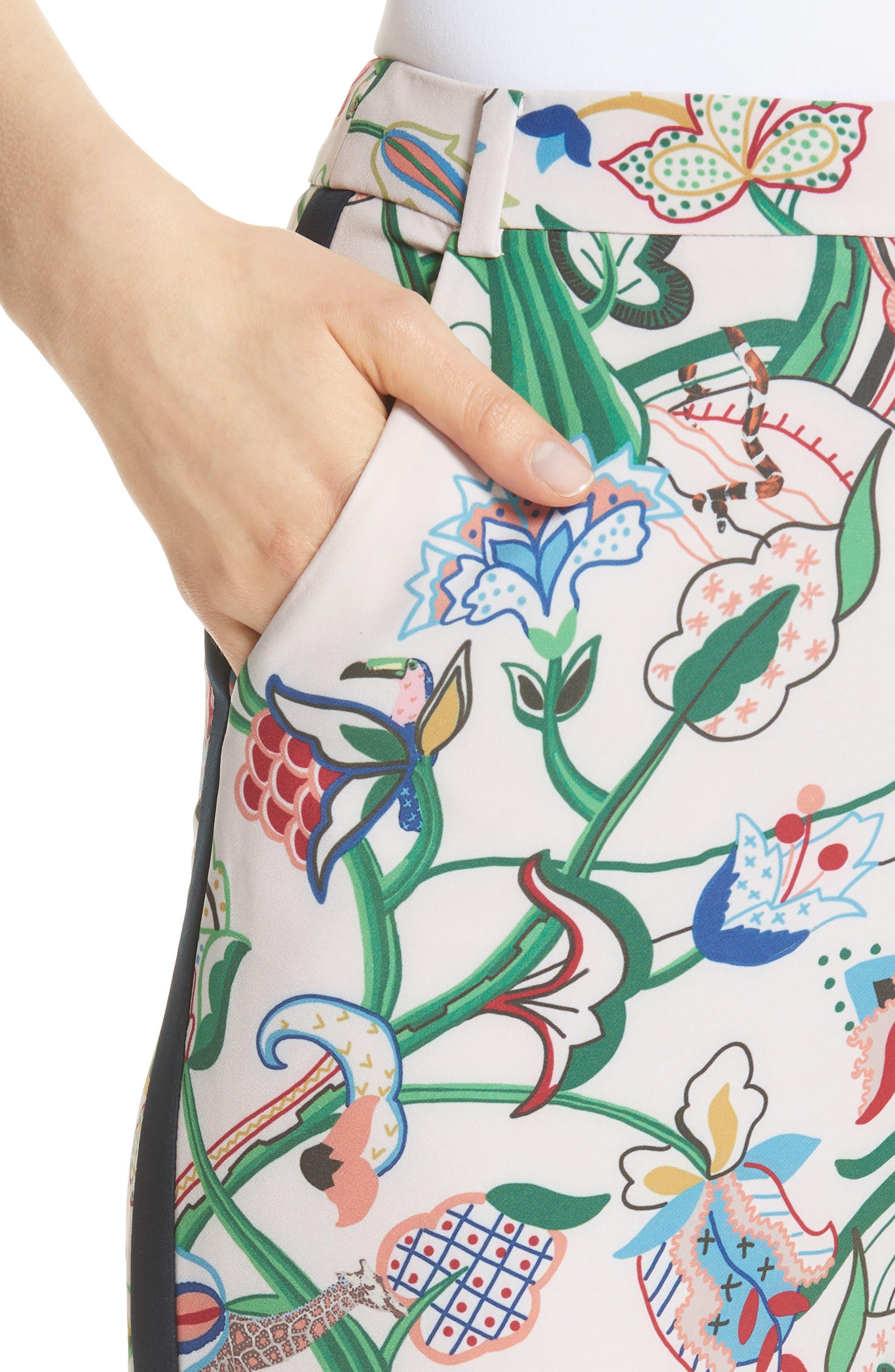 Tachi Jungle Print Trousers,                             Alternate thumbnail 4, color,                             Dusky Pink