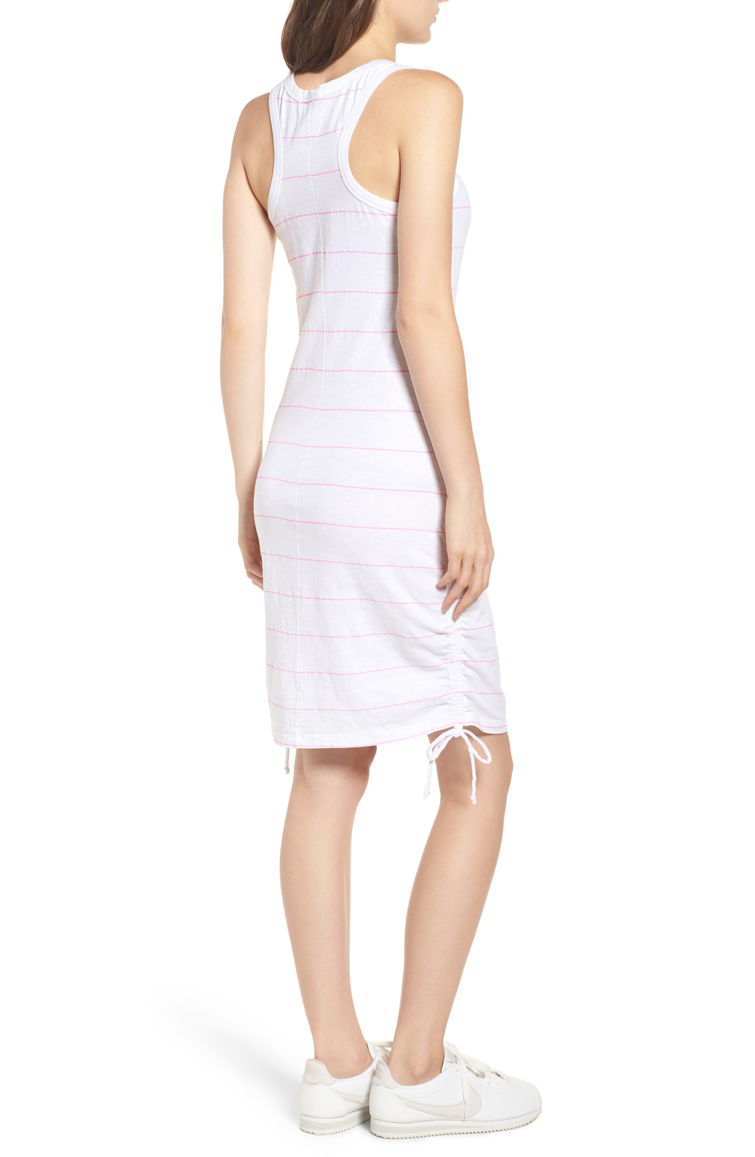 Shirred Racerback Dress,                             Alternate thumbnail 2, color,                             White