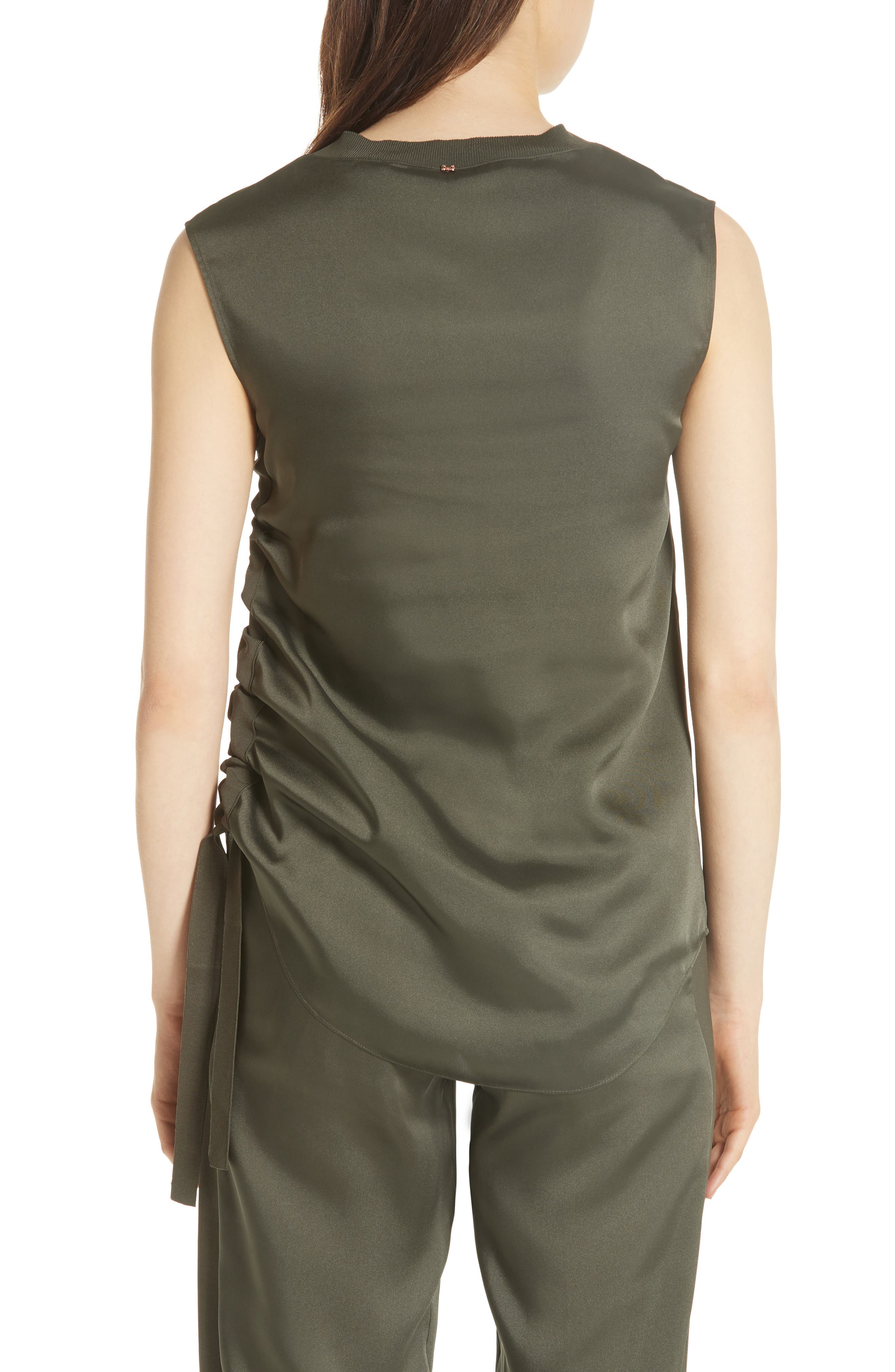 Side Ruched Top,                             Alternate thumbnail 2, color,                             Khaki