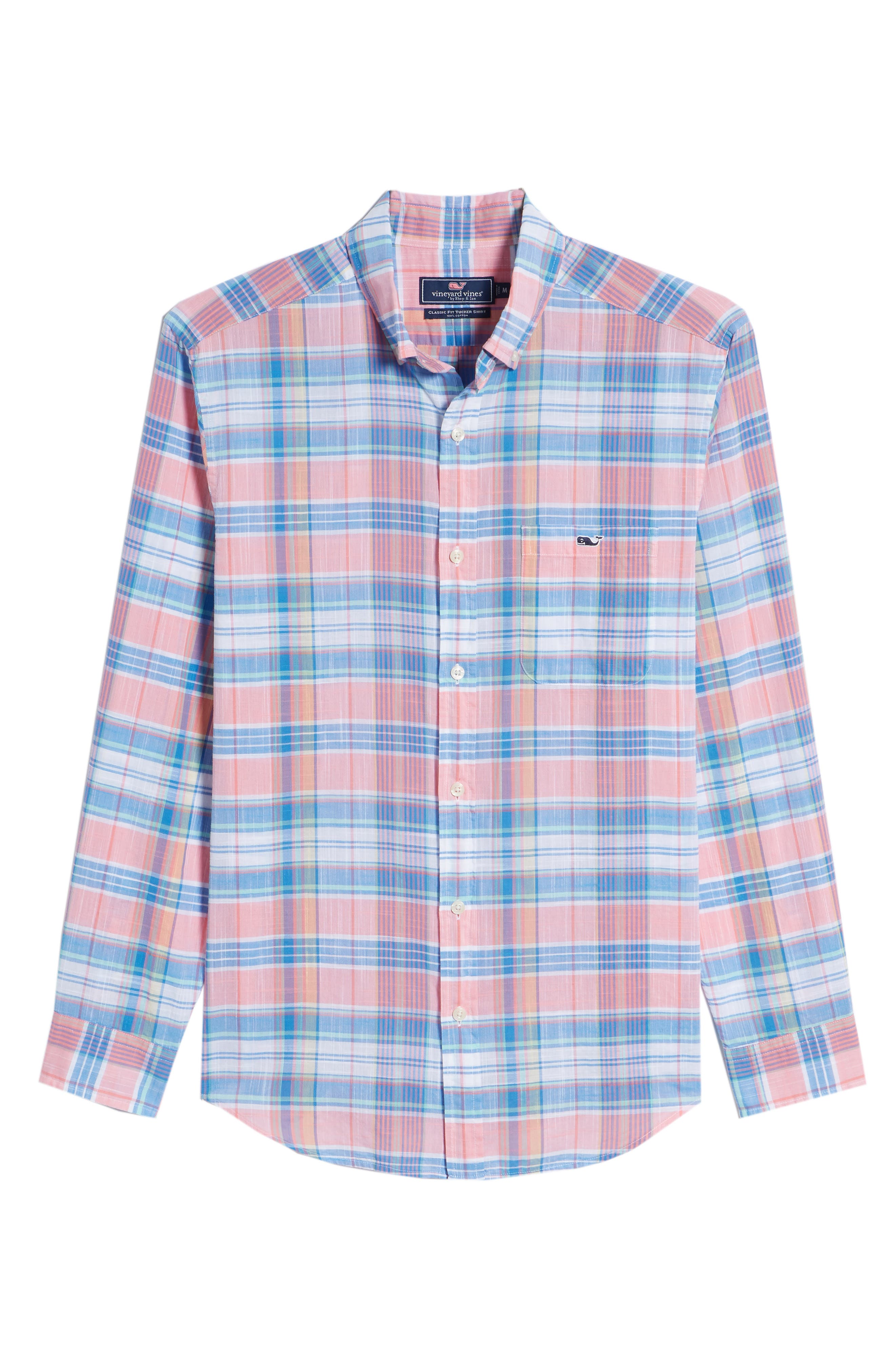 Smith Point Tucker Classic Fit Plaid Sport Shirt,                             Alternate thumbnail 6, color,                             Washed Neon Pink