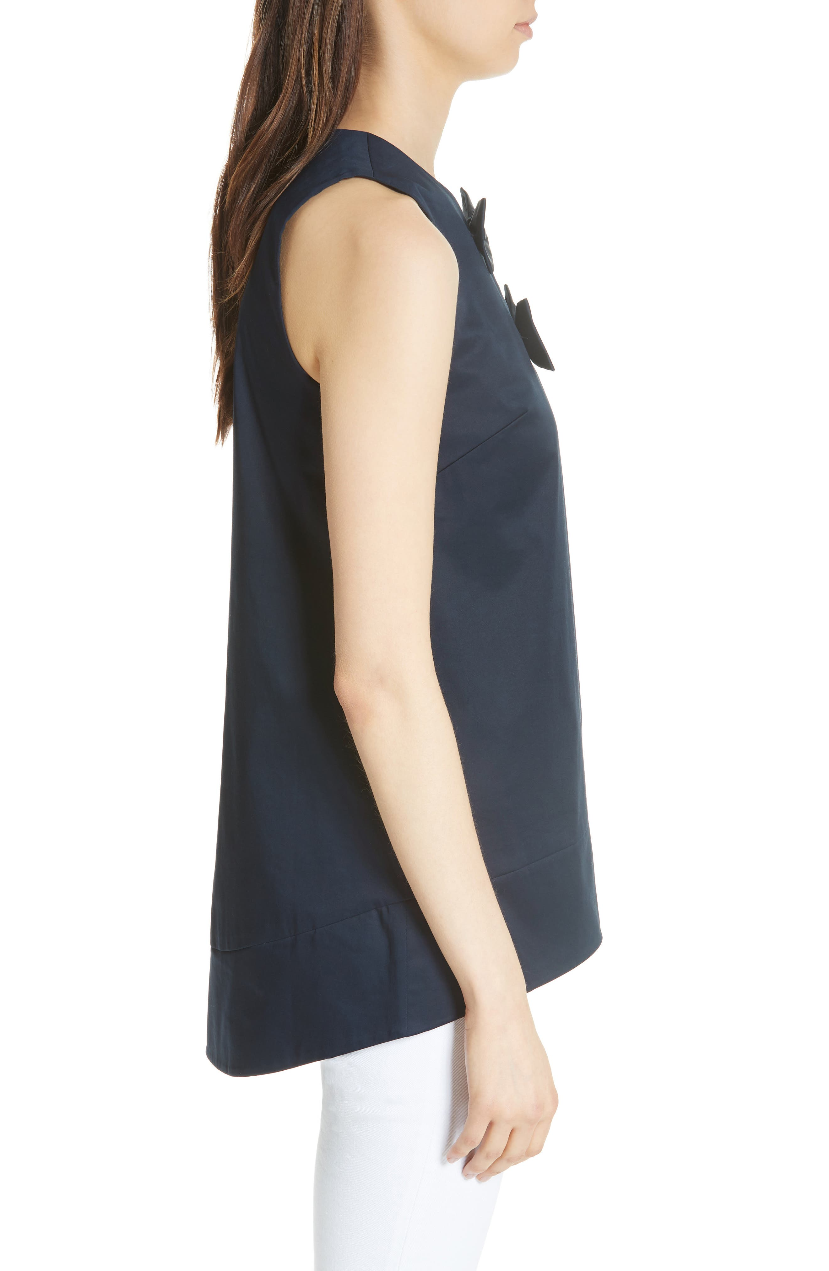 Double Bow A-Line Top,                             Alternate thumbnail 3, color,                             Navy