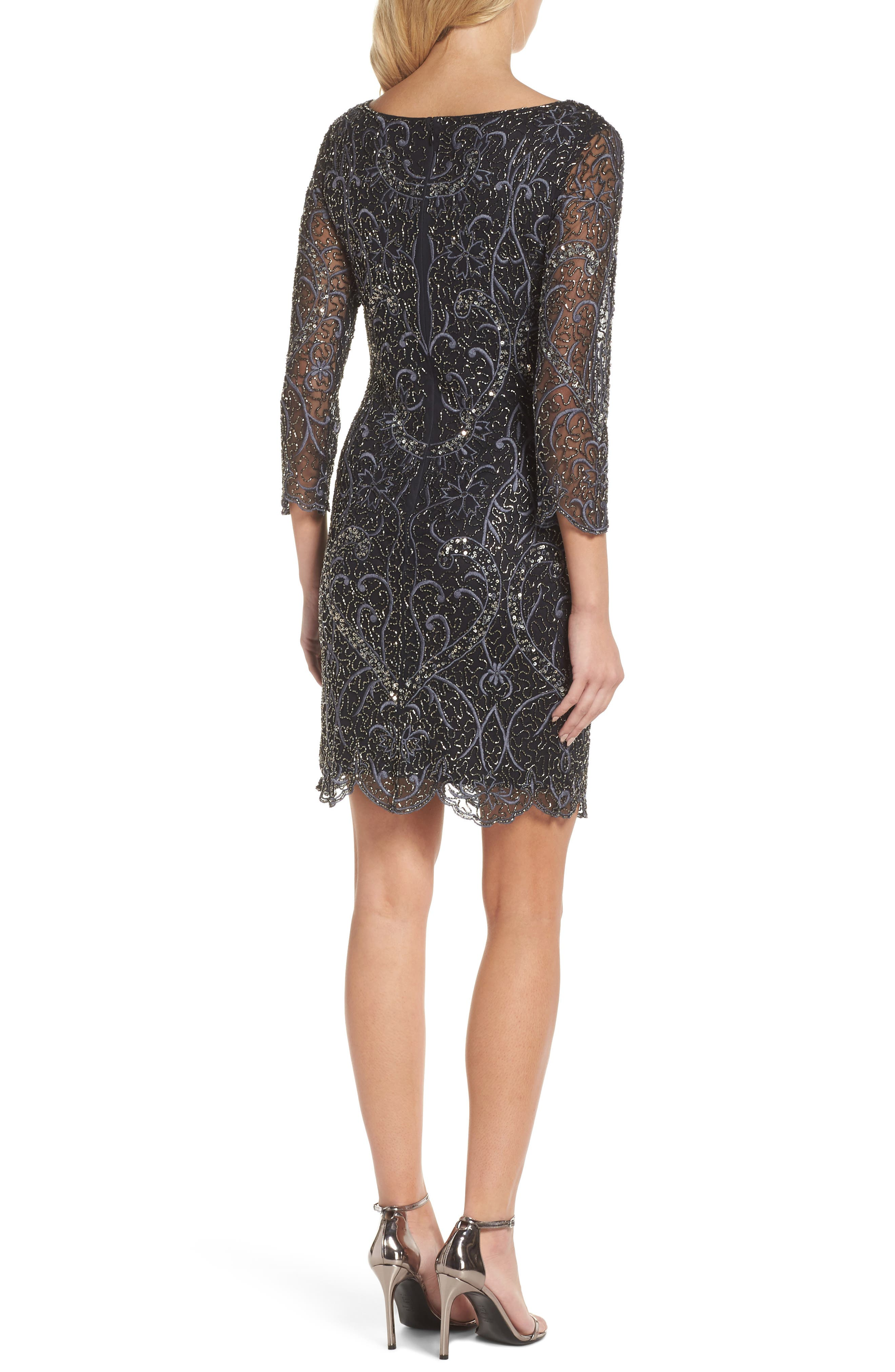 Embroidered Cocktail Dress,                             Alternate thumbnail 2, color,                             Black