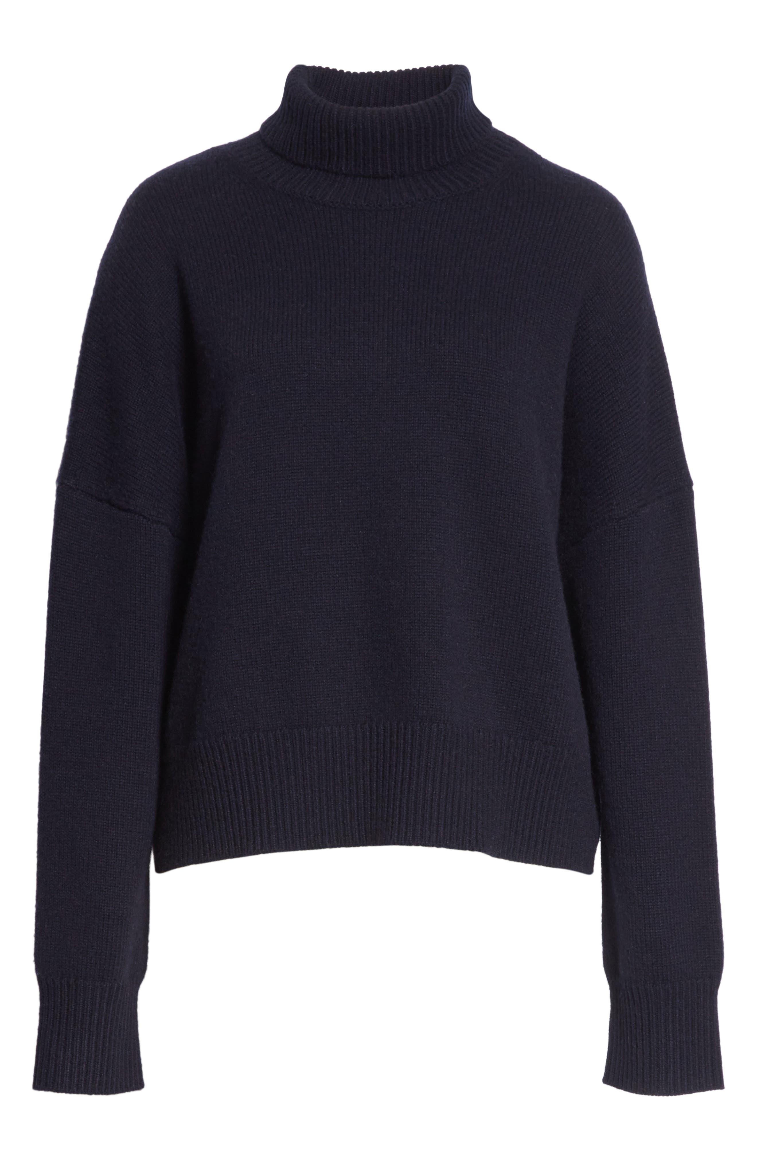 Serinda Wool & Cashmere Turtleneck Sweater,                             Alternate thumbnail 6, color,                             Dark Navy