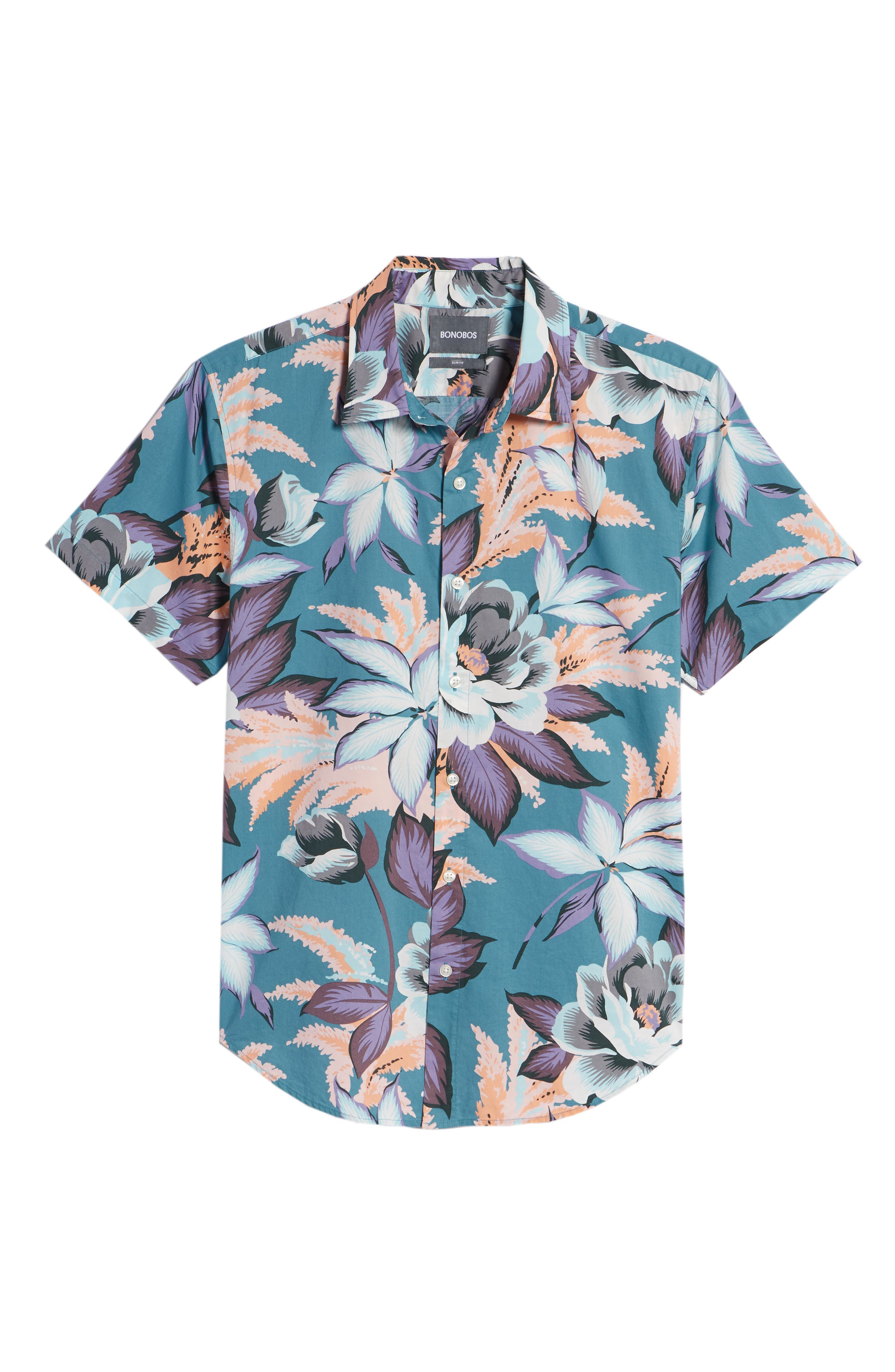 Riviera Slim Fit Floral Print Sport Shirt,                             Alternate thumbnail 6, color,                             Coral Couch Floral - Blue