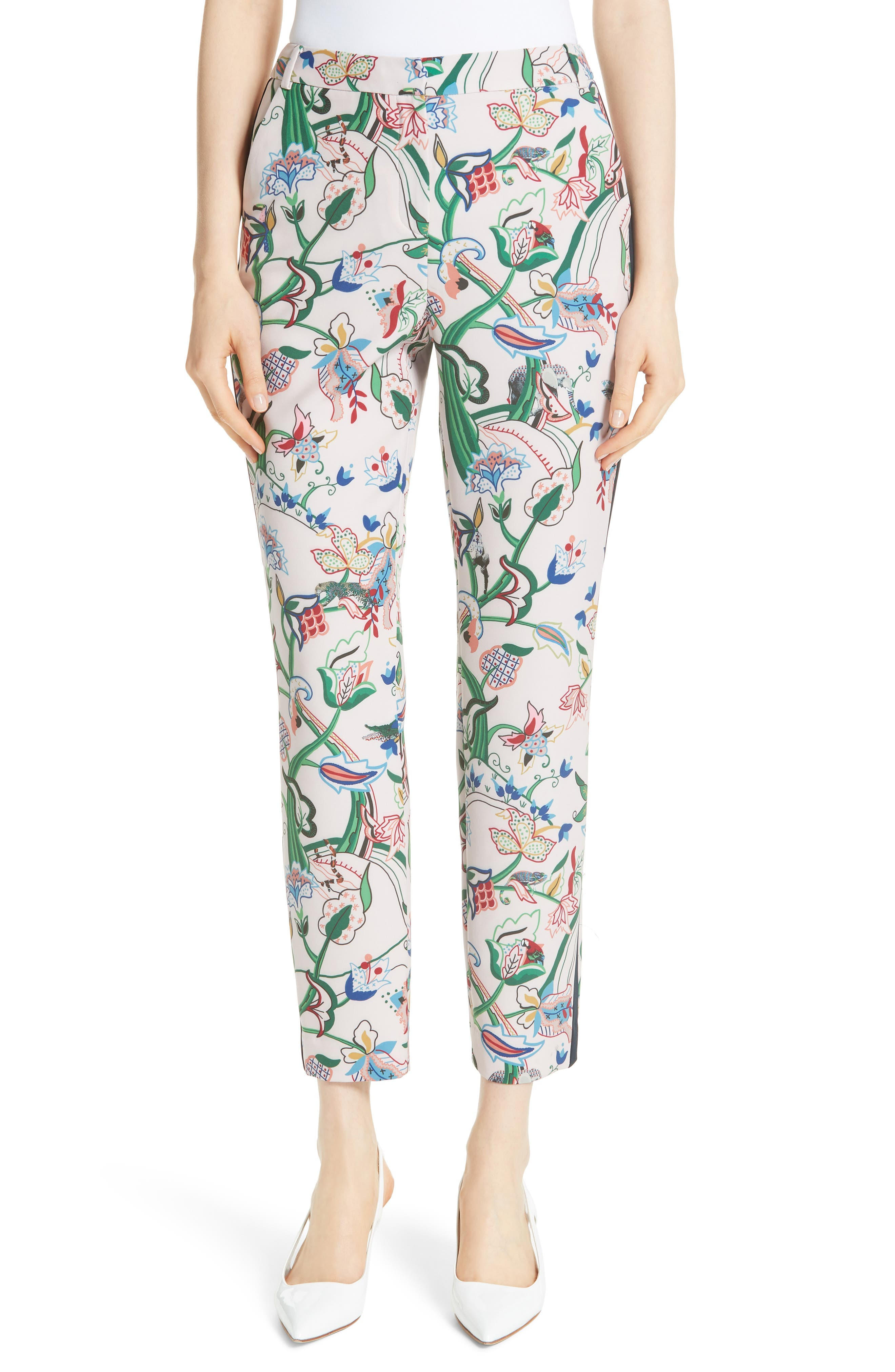 Tachi Jungle Print Trousers,                             Main thumbnail 1, color,                             Dusky Pink