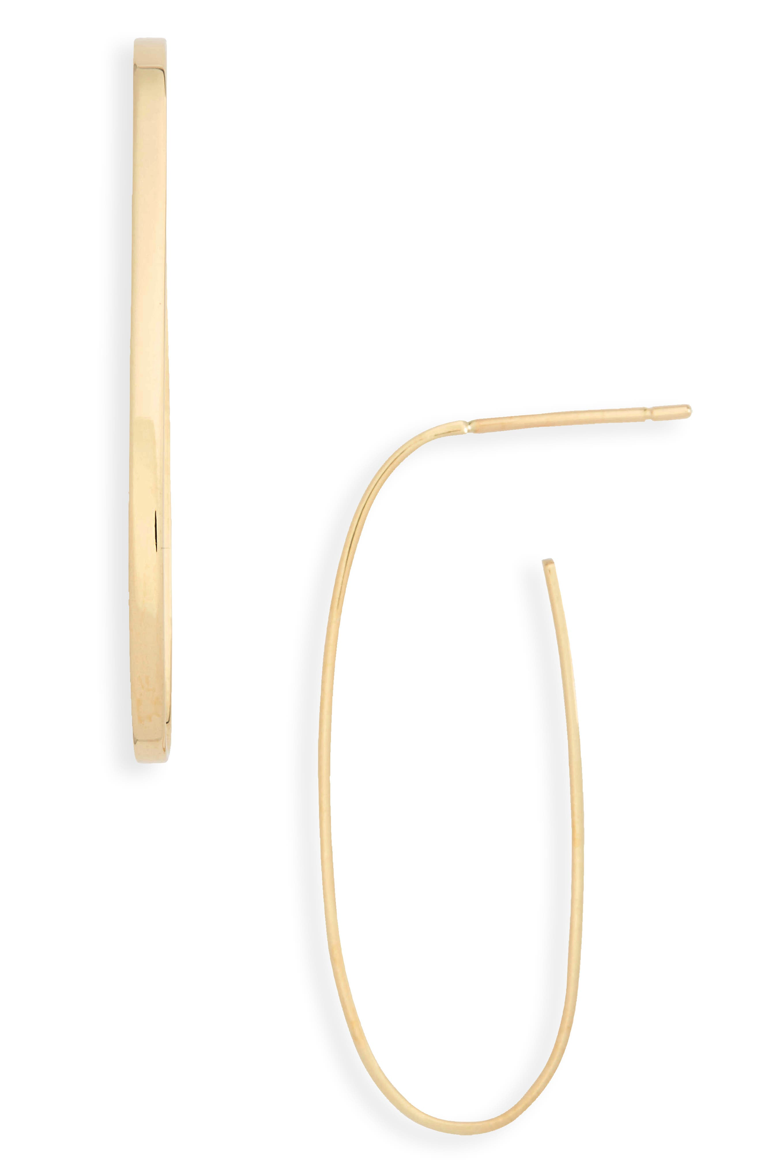 Flat Long Oval Hoop Earrings,                             Main thumbnail 1, color,                             Yellow Gold