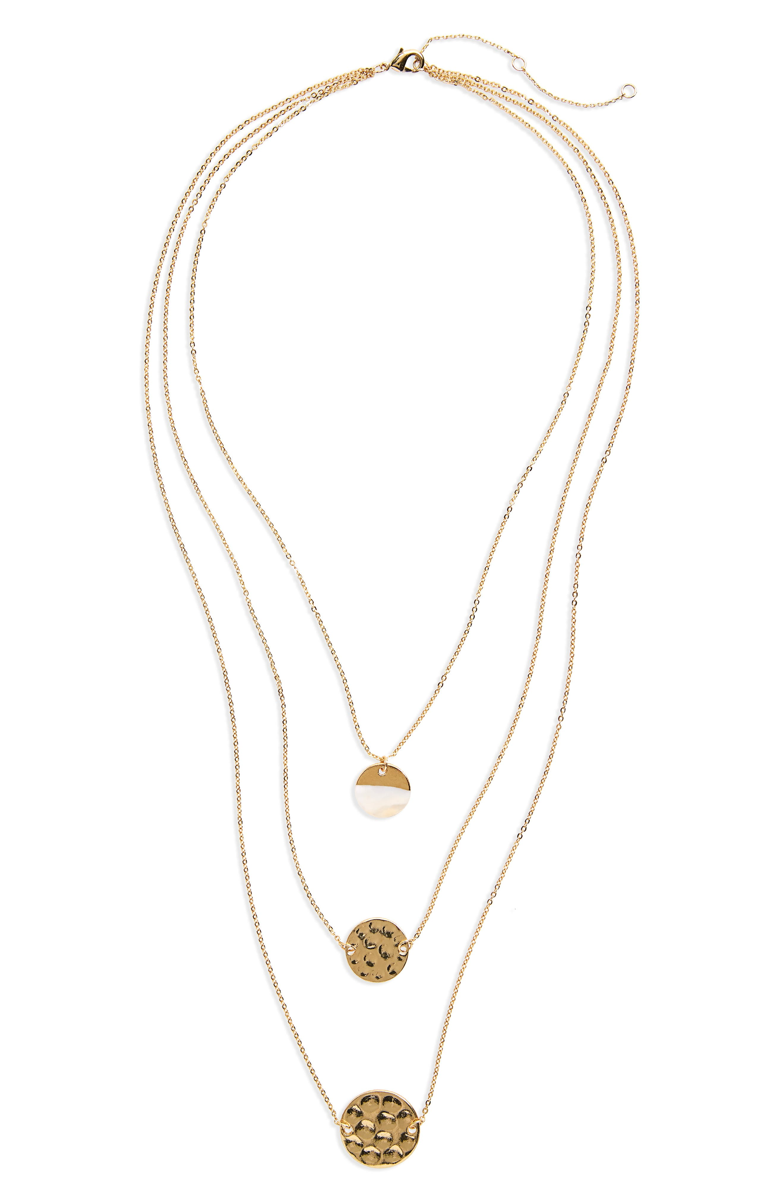 Three-Layer Disc Necklace,                         Main,                         color, Gold
