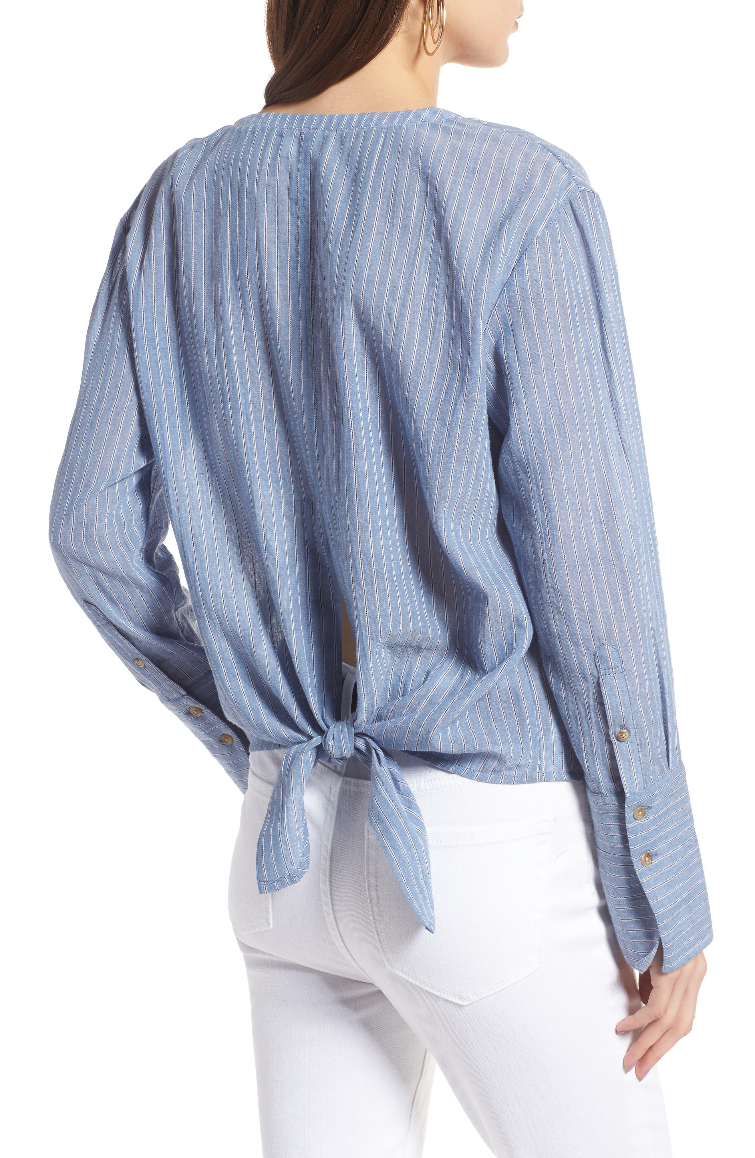 Tie Back Shirt,                             Alternate thumbnail 2, color,                             Blue Airy Stripe
