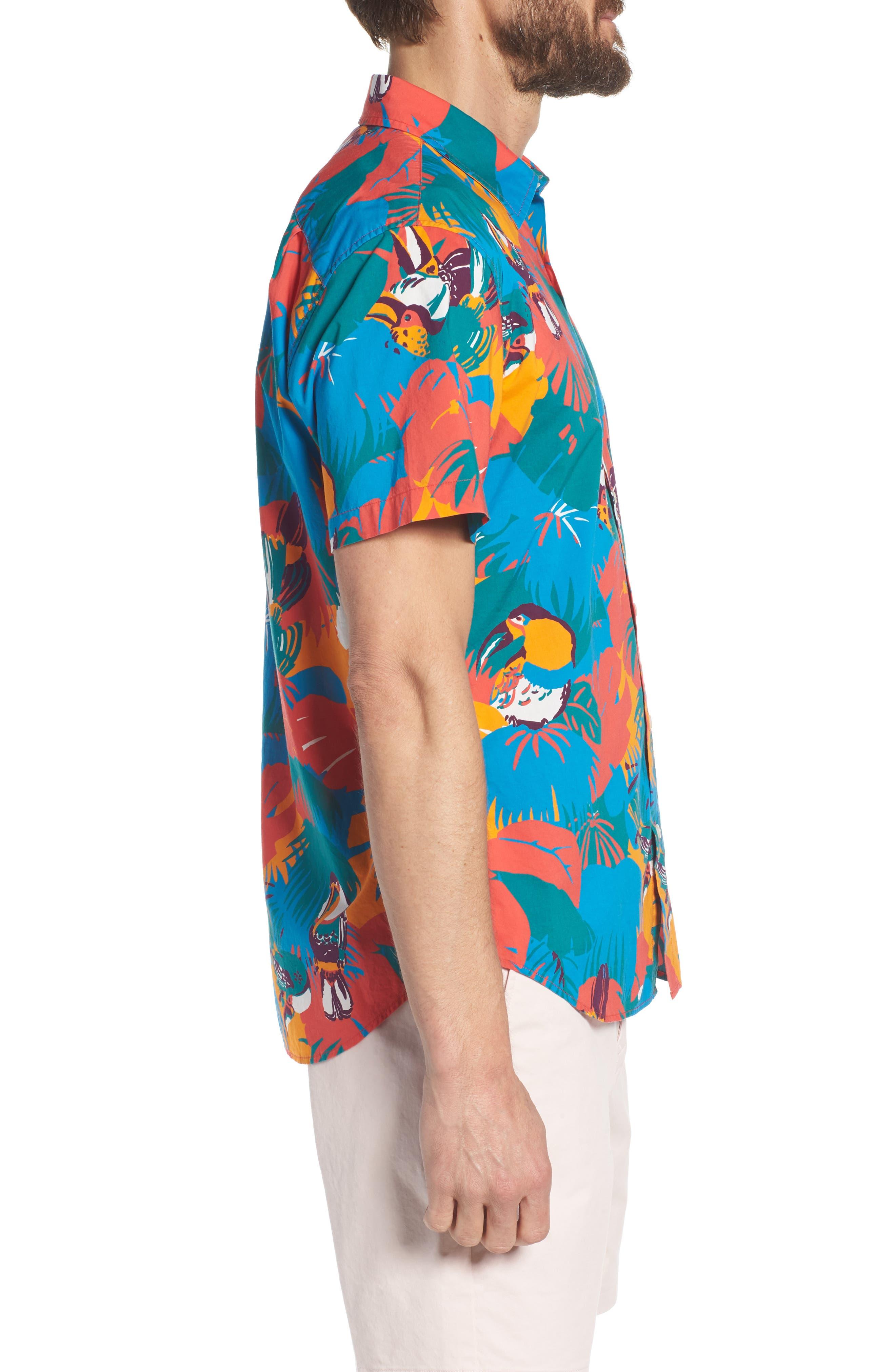 Slim Fit Print Sport Shirt,                             Alternate thumbnail 4, color,                             Toucan Tropics - Coral Fan
