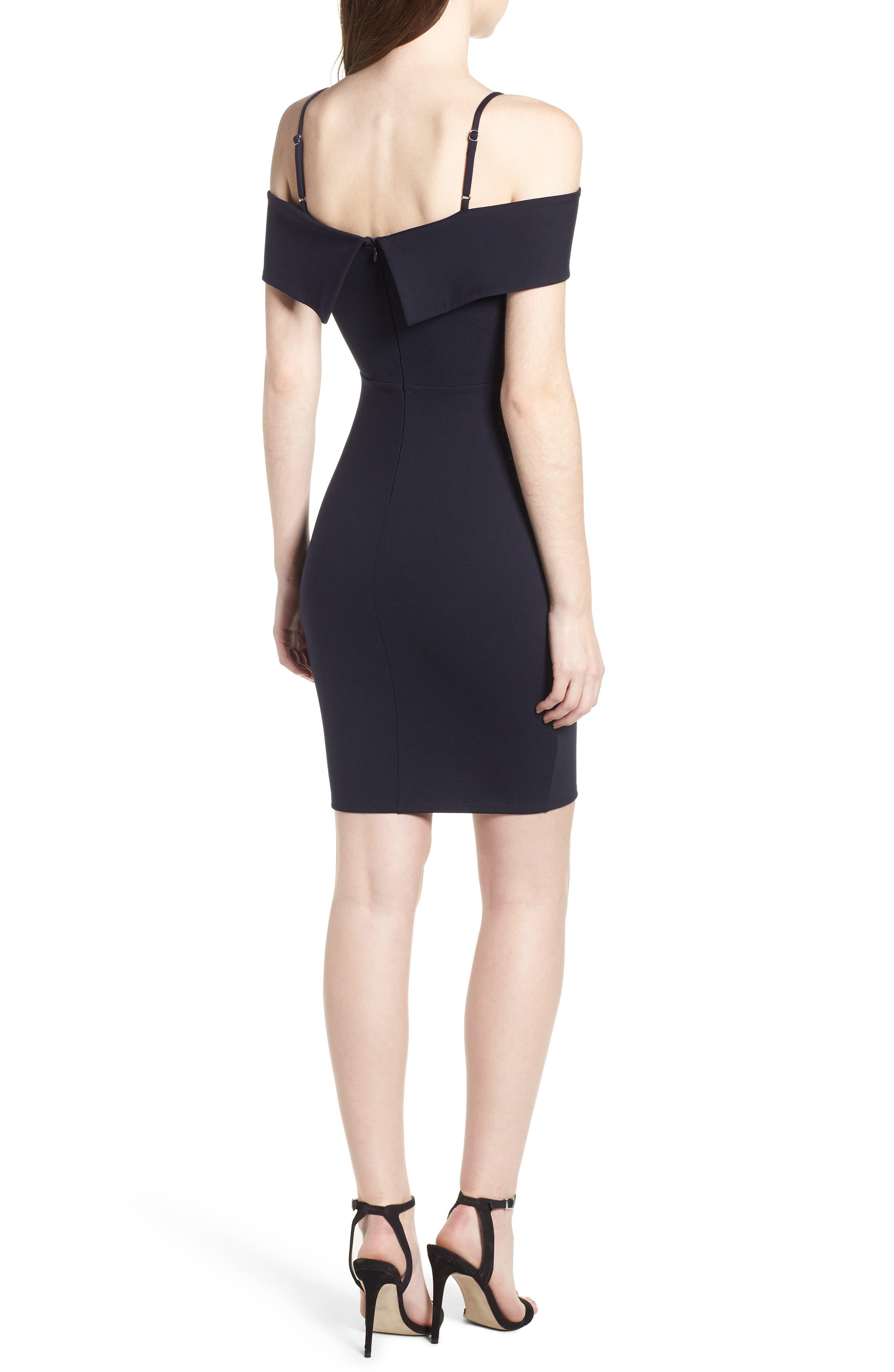 Cold Shoulder Body-Con Dress,                             Alternate thumbnail 2, color,                             Navy Pea Coat