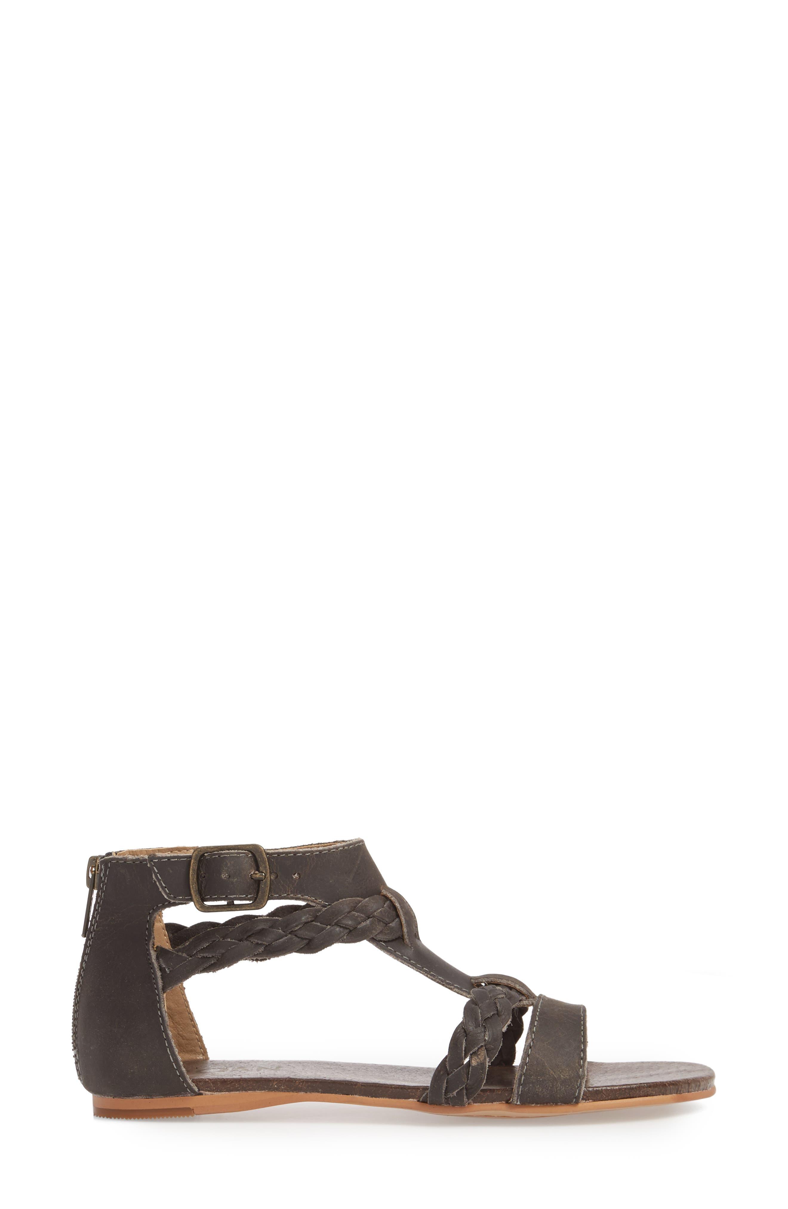 Posey Braided V-Strap Sandal,                             Alternate thumbnail 3, color,                             Sydney Black