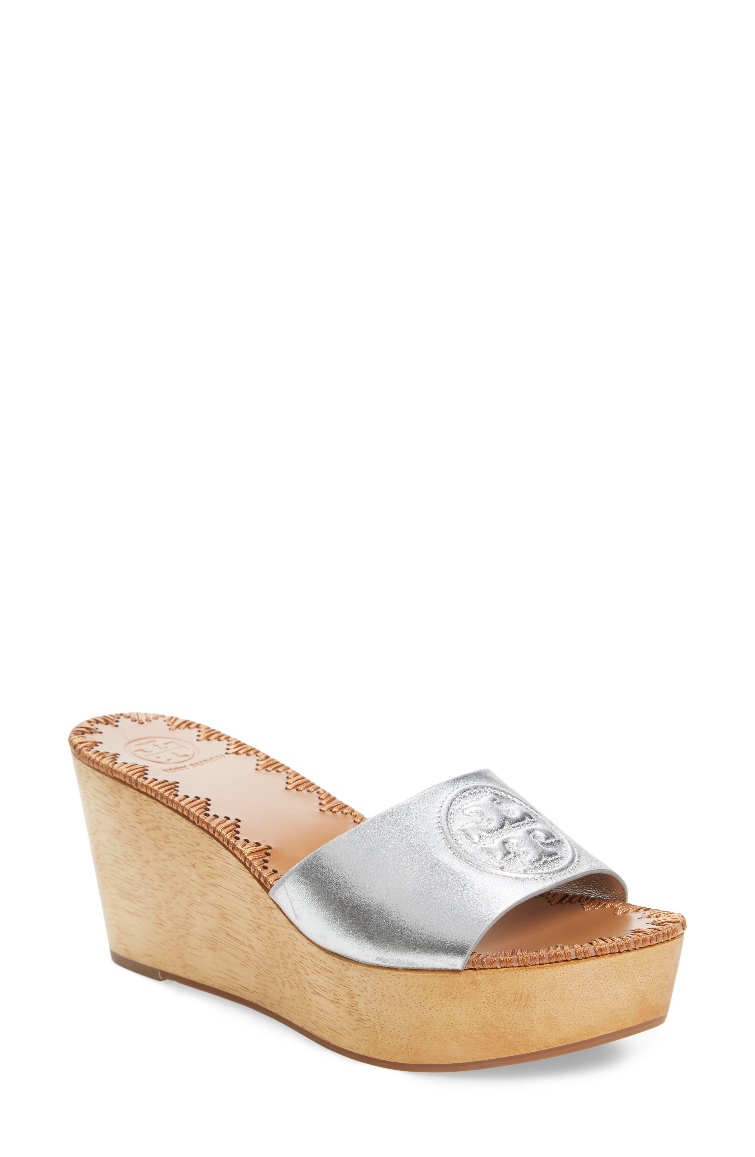 Patty Logo Platform Wedge Sandal,                         Main,                         color, Silver
