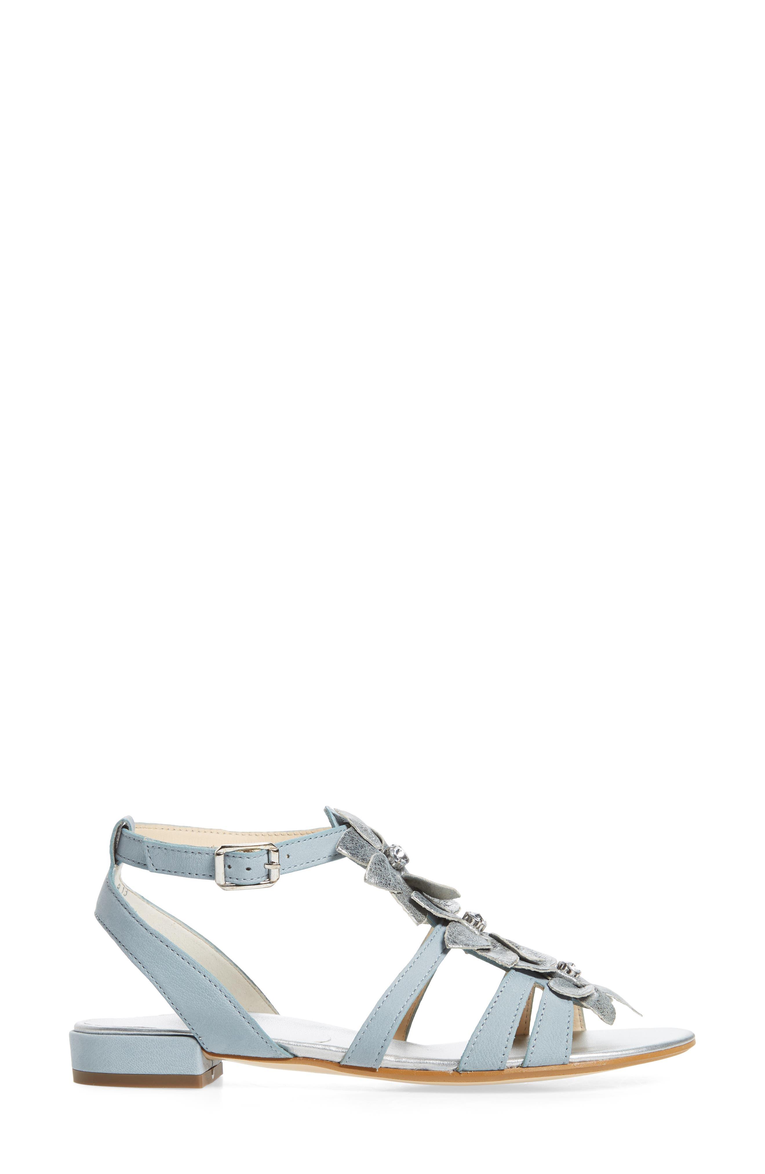 Norien Embellished Flower Sandal,                             Alternate thumbnail 3, color,                             Lago Brushed Leather