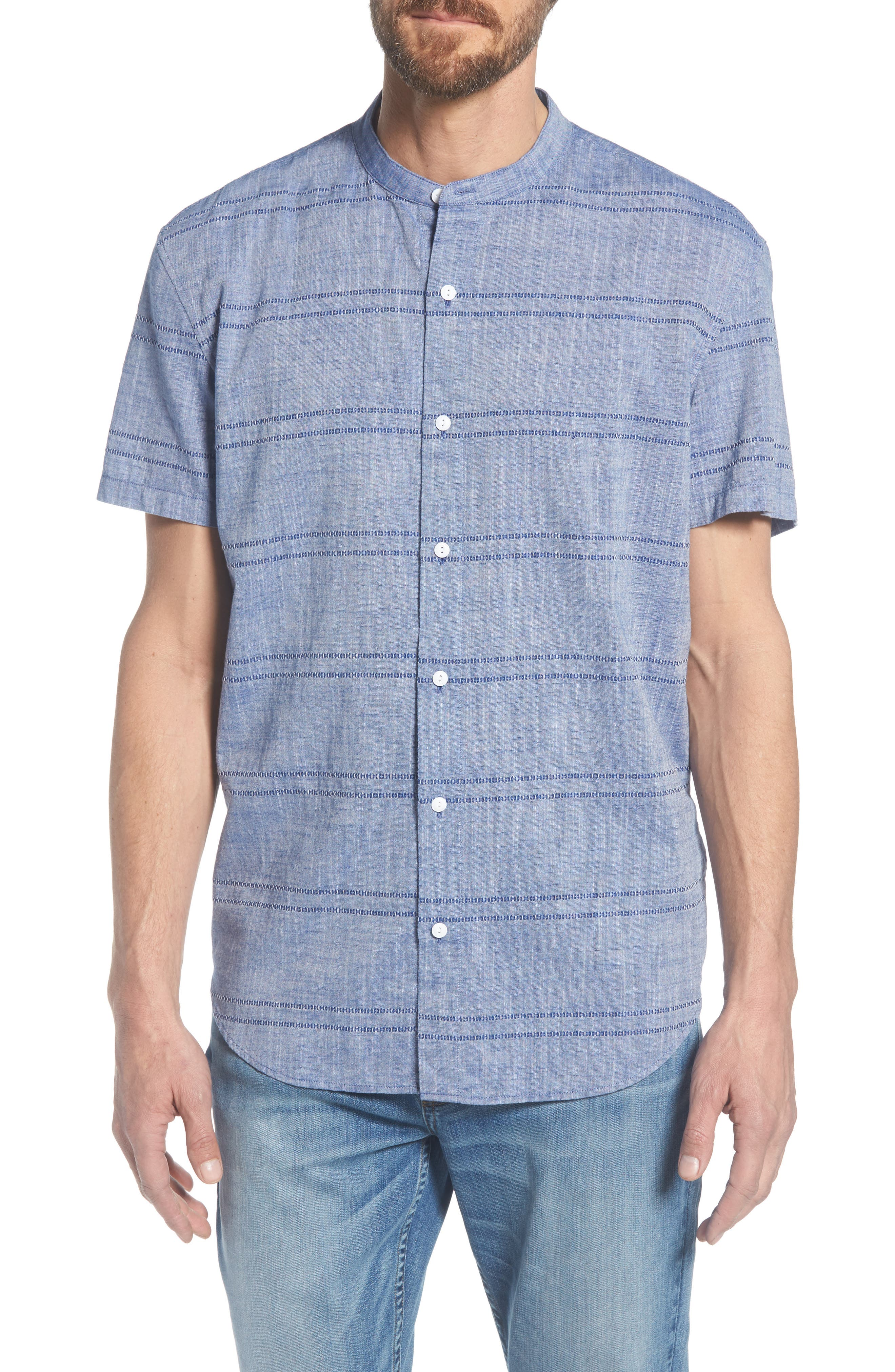Beach Slim Fit Stripe Sport Shirt,                             Main thumbnail 1, color,                             Oak Bluffs Awning - Blue